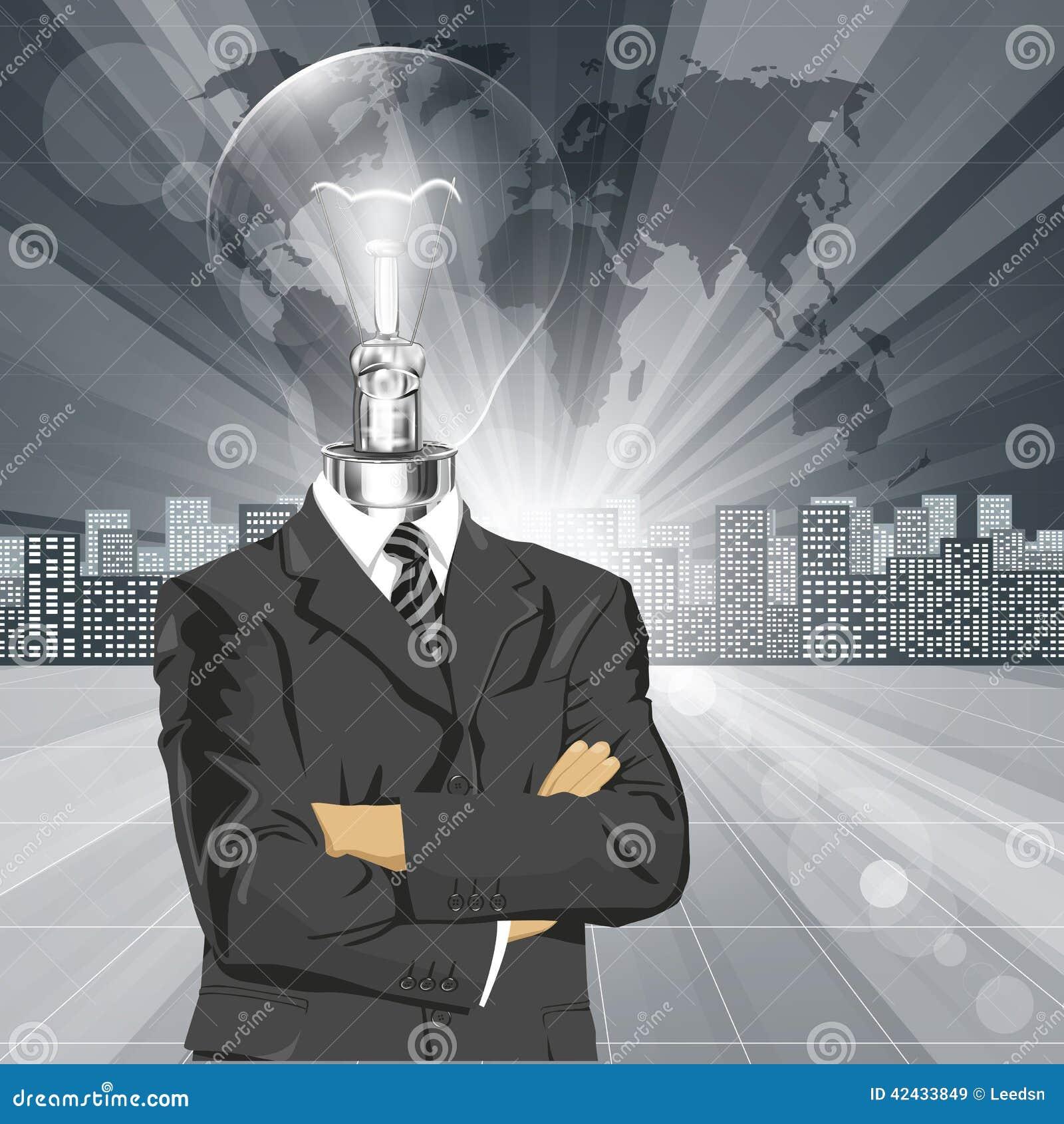 Hombre de negocios principal In Suit de la lámpara