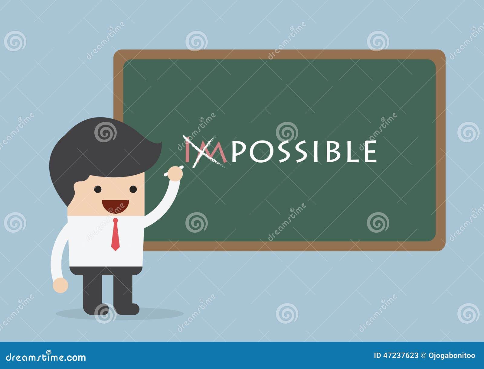 Hombre de negocios que cambia la palabra imposible en posible, Motivati