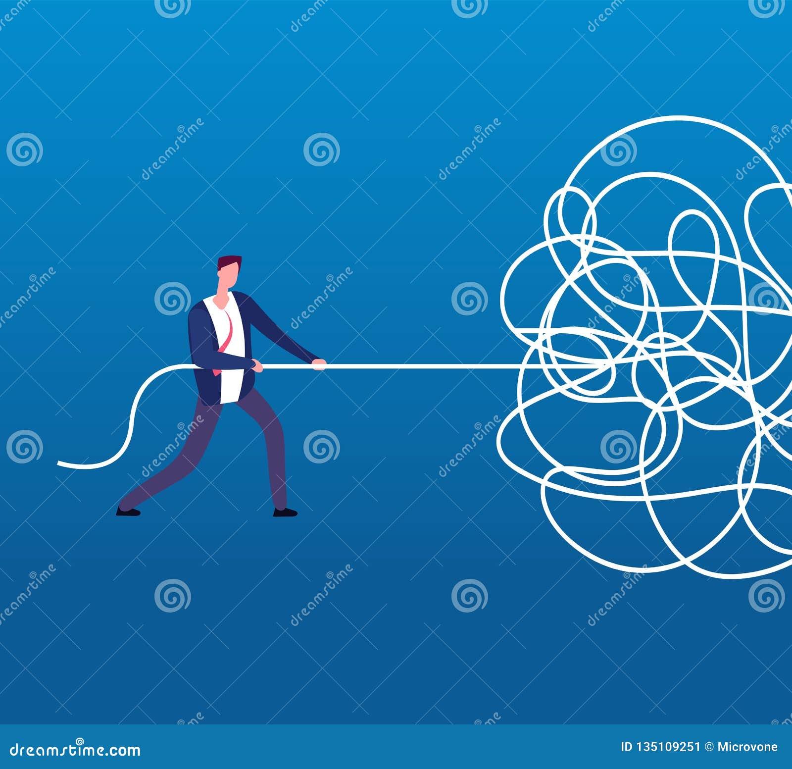 Hombre de negocios que desenreda la cuerda enredada Concepto difícil del negocio del vector del problema, del caos y del lío