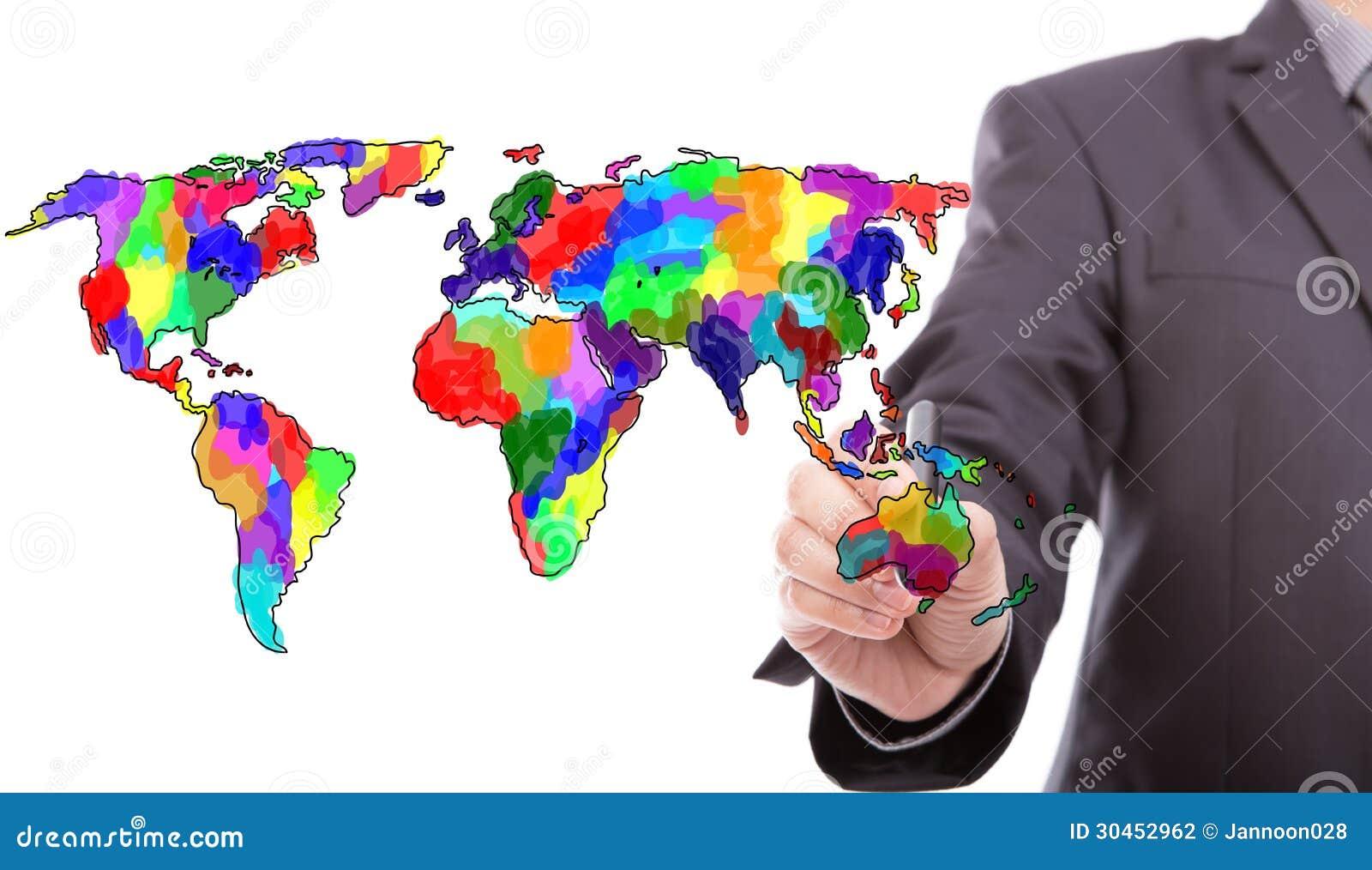 Hombre de negocios que dibuja el mapa colorido del mundo