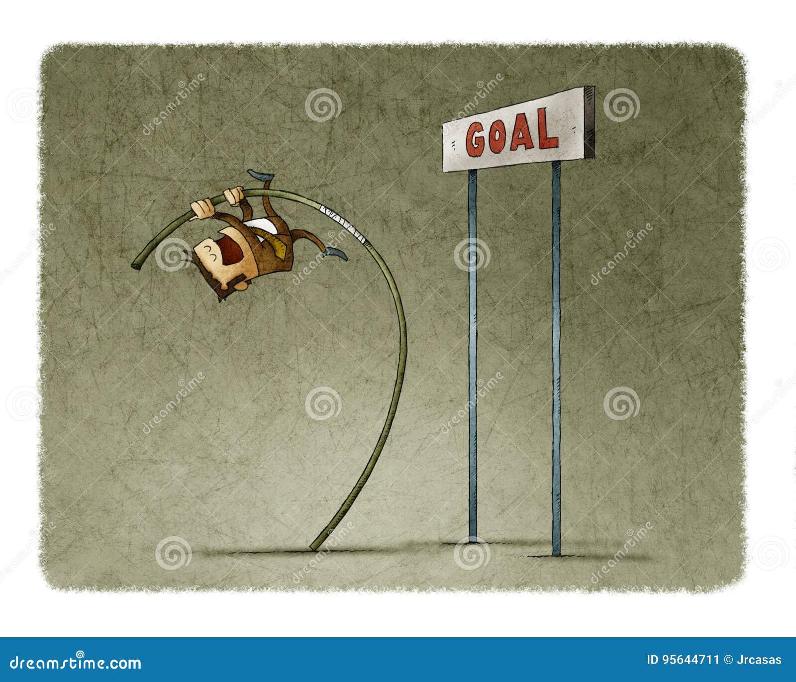 Hombre de negocios que hace la bóveda de polo para saltar la meta