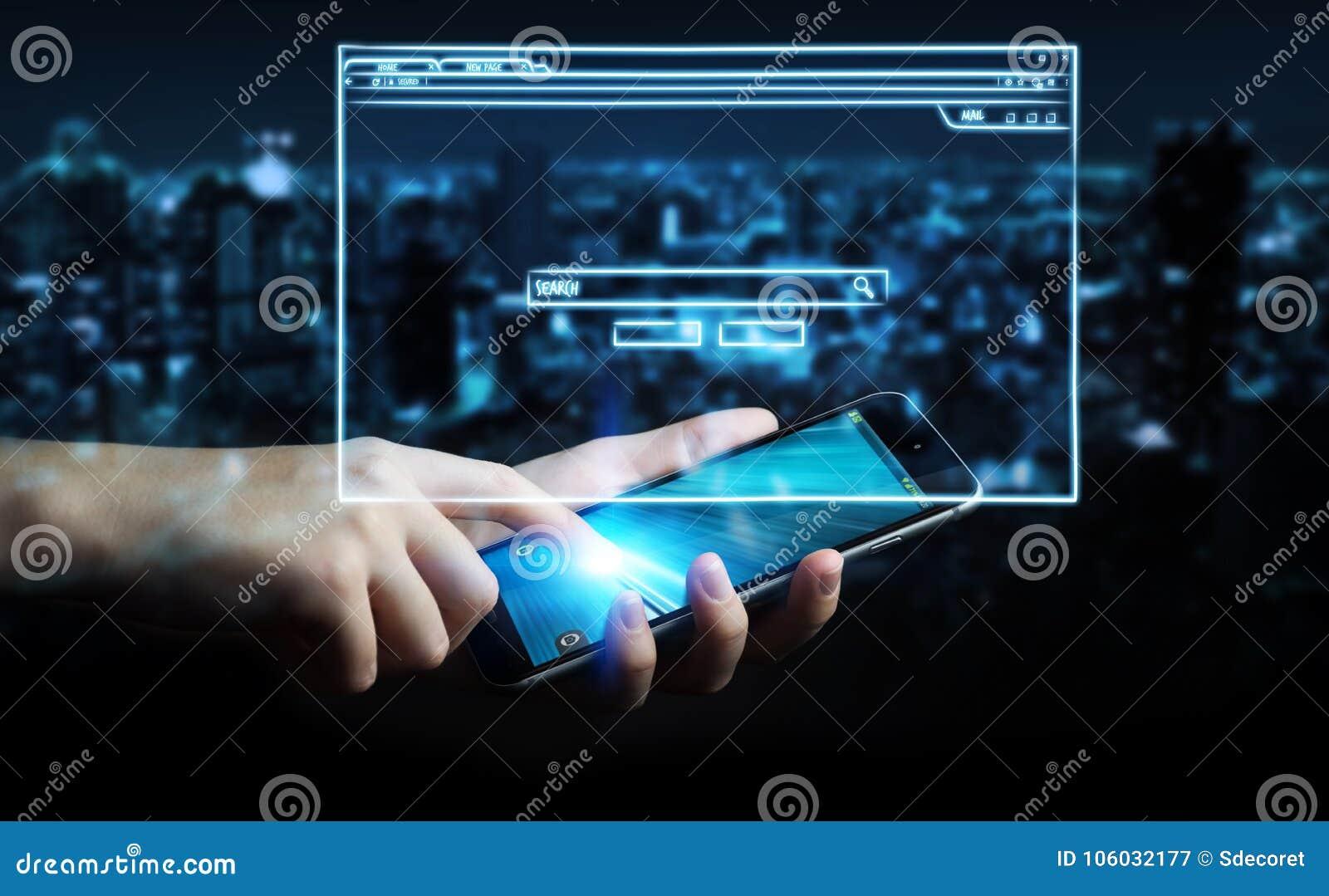 Hombre de negocios que lleva a cabo bosquejo de la página del sitio web sobre el teléfono móvil