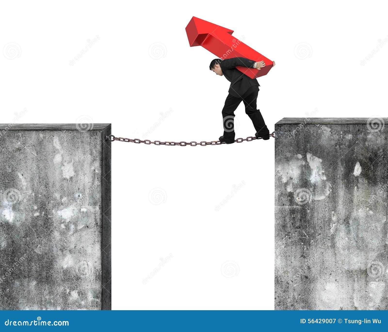 Hombre de negocios que lleva la muestra roja de la flecha que equilibra en cadena oxidada