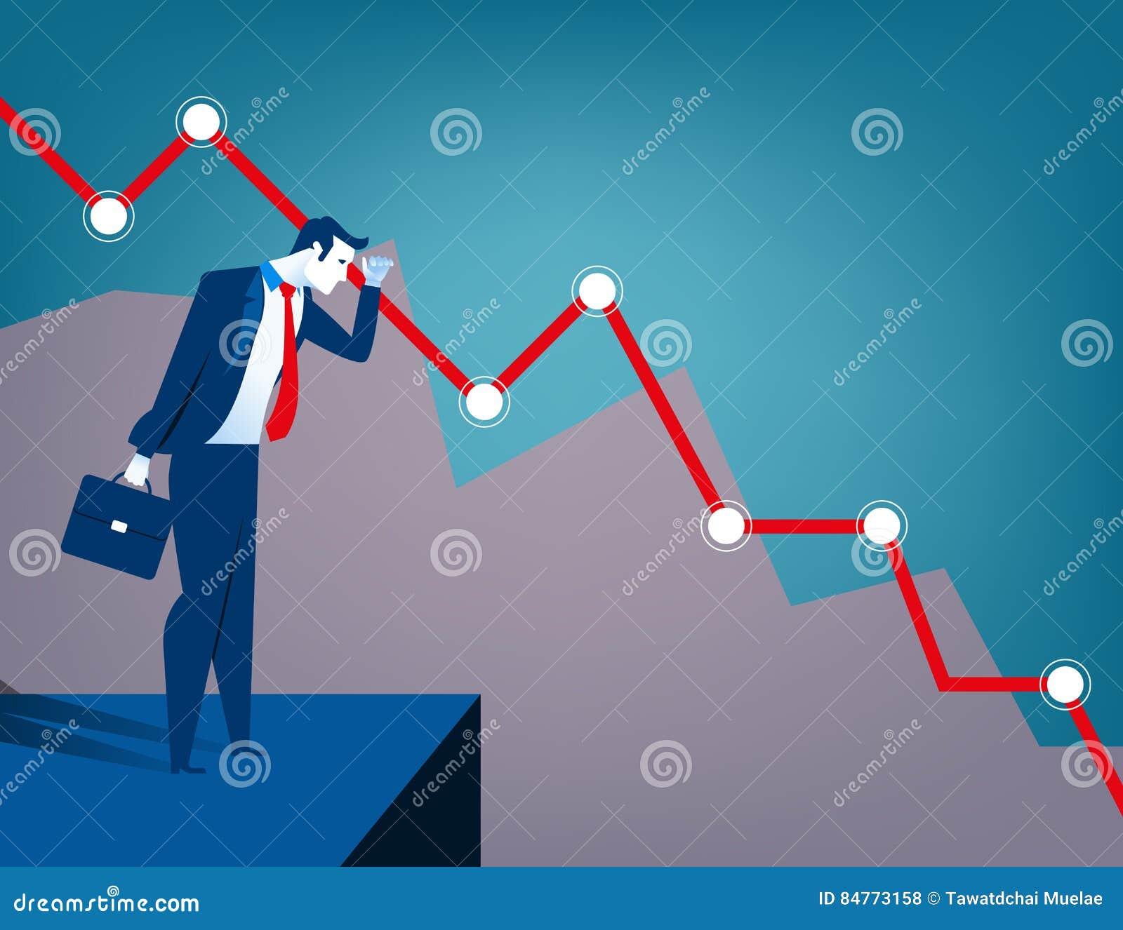 Hombre de negocios que mira el diagrama que cae C económica y financiera