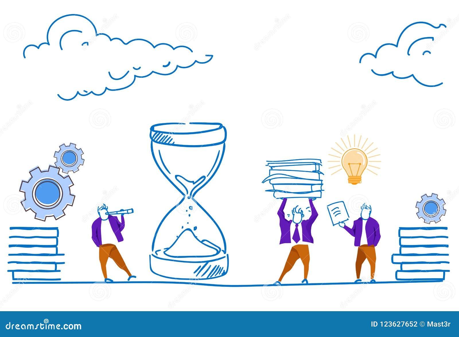 Hombre de negocios que mira la reunión de reflexión de proceso de trabajo dura de la arena del reloj del plazo del concepto del n