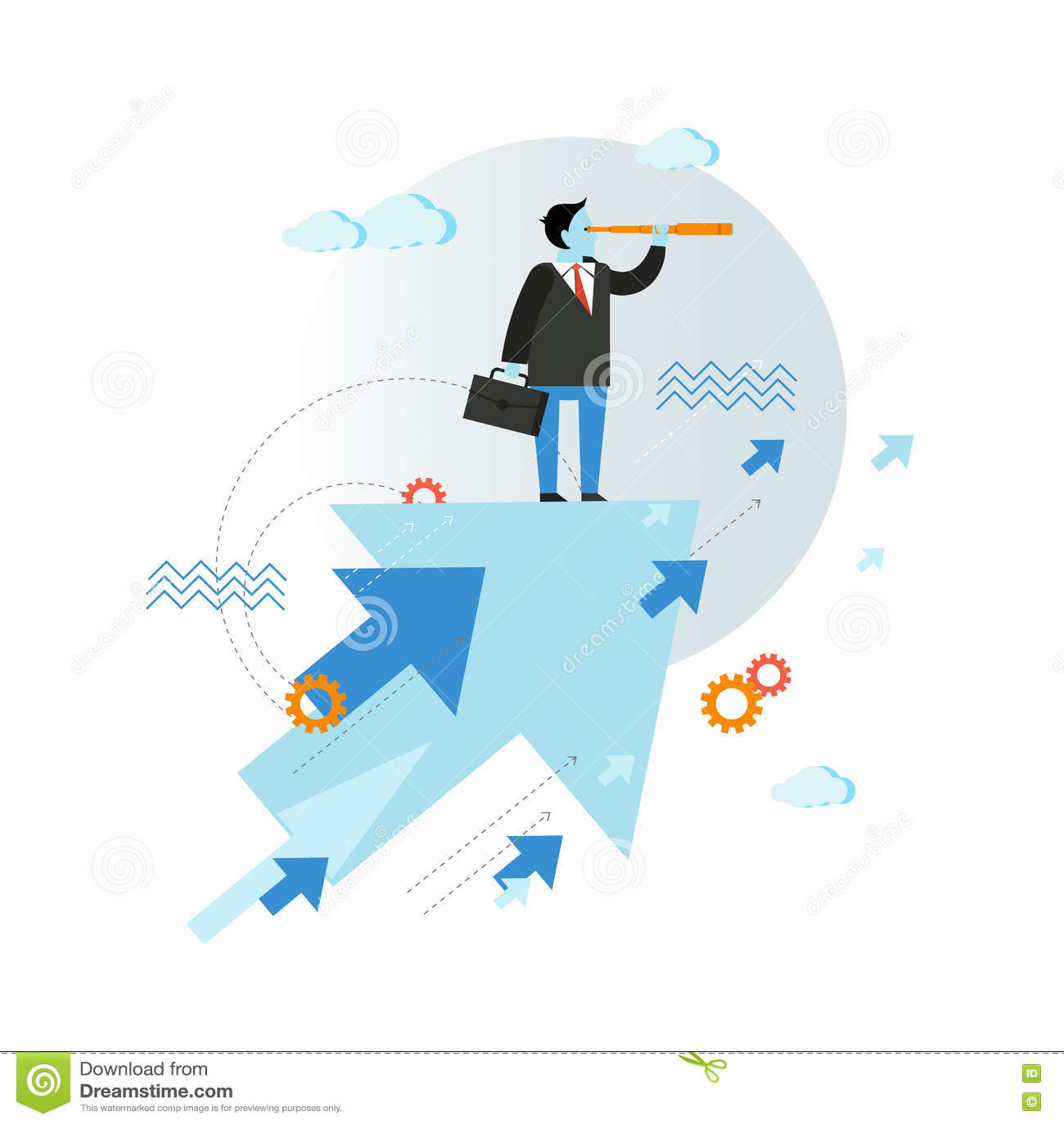 Hombre de negocios que mira a través del ejemplo del vector del catalejo en diseño plano del estilo Concepto creativo de la visió