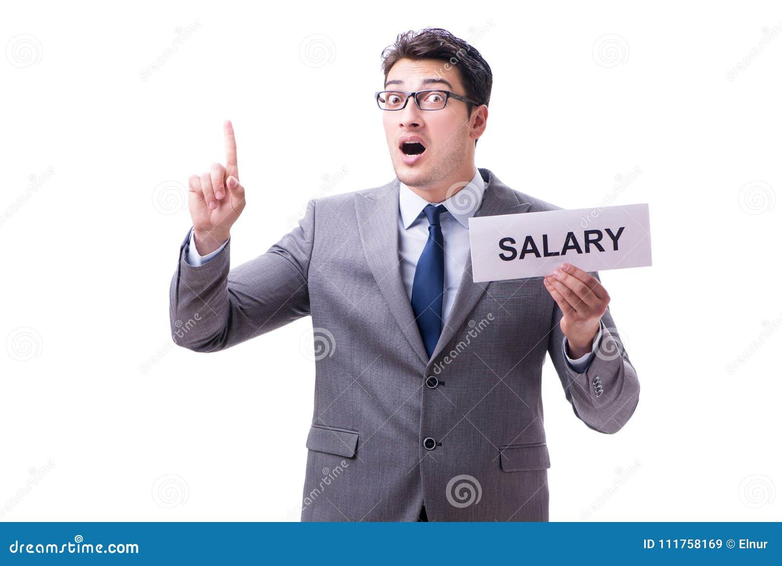 Hombre de negocios que pide el aumento salarial aislado en el backgro blanco