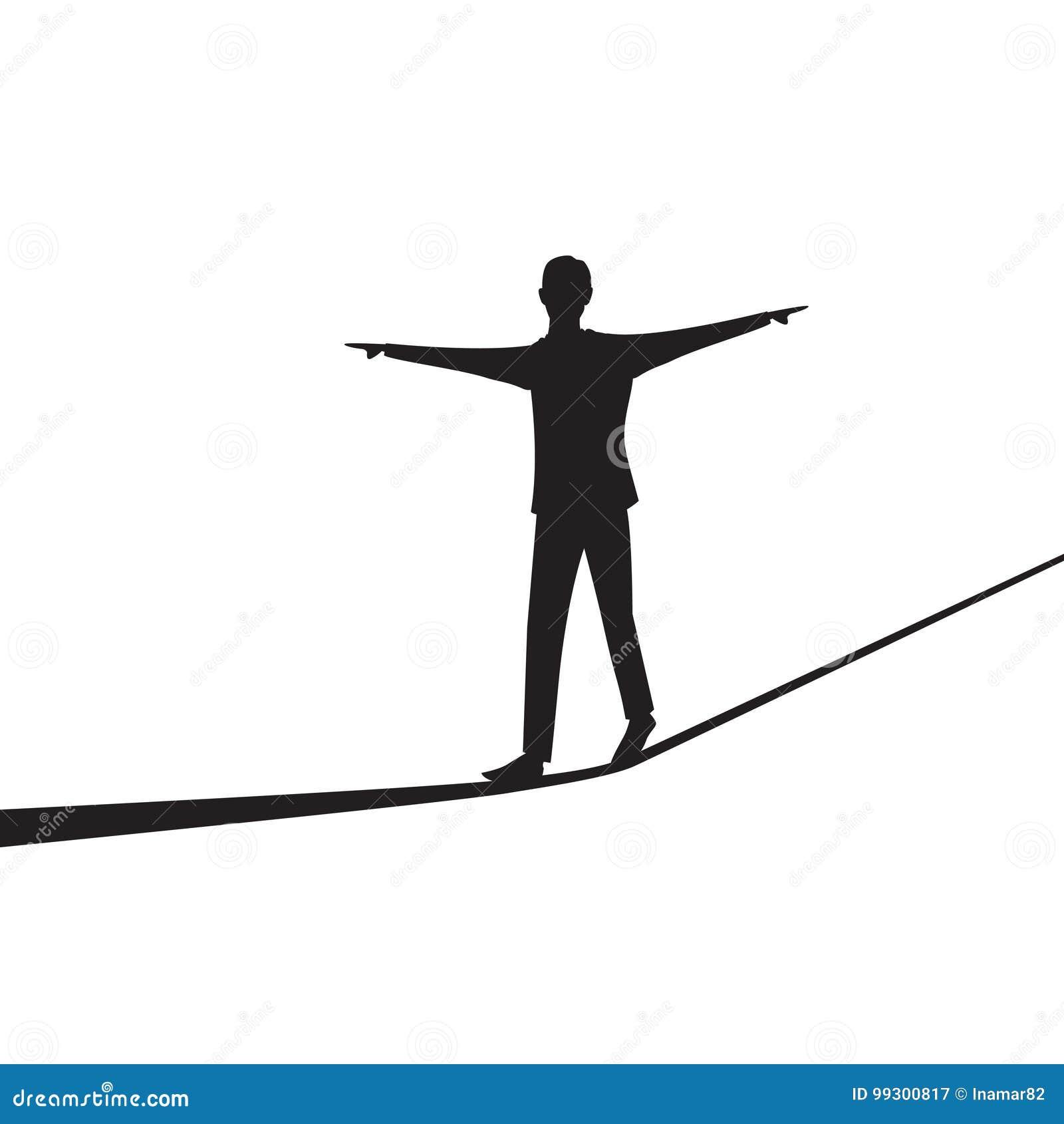 Hombre de negocios que recorre en cuerda Desafío del riesgo en concepto del negocio