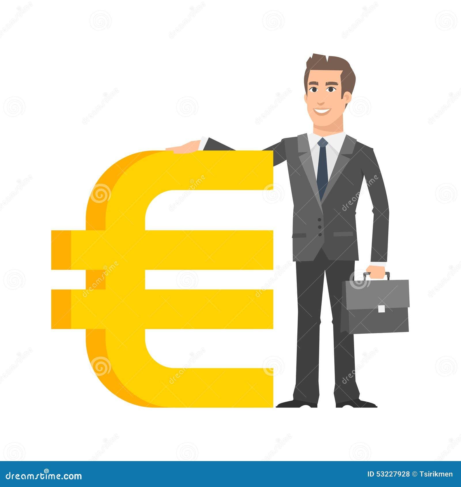 Hombre de negocios que se coloca cerca con la muestra euro
