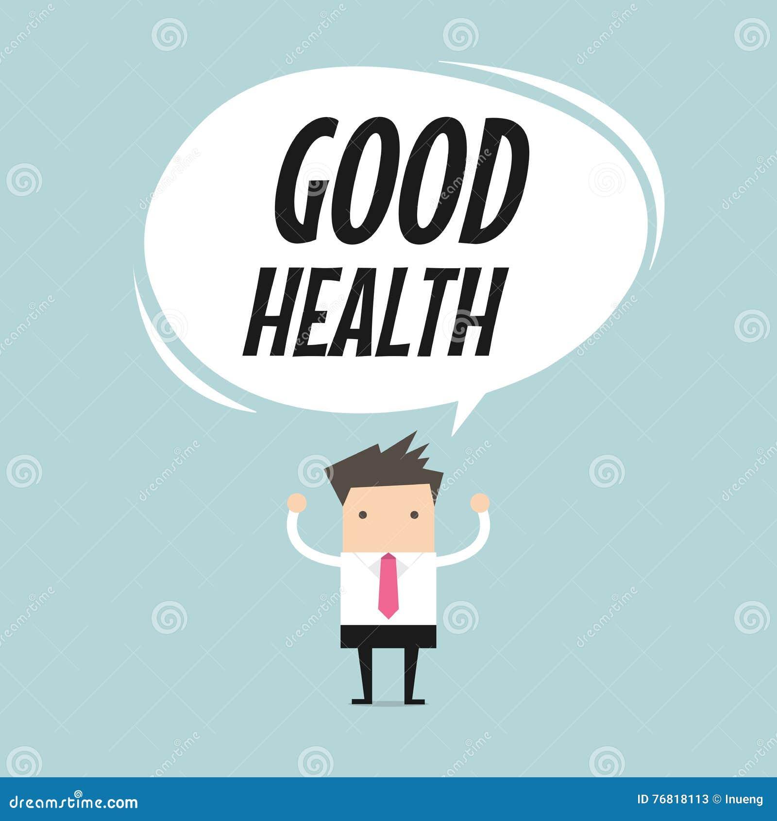 Hombre de negocios que se coloca con el globo de la palabra de la buena salud, concepto sano de la forma de vida