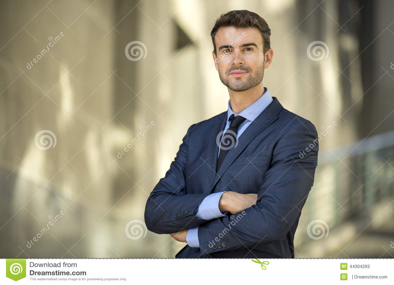 Hombre de negocios que se coloca confiado con el retrato de la sonrisa