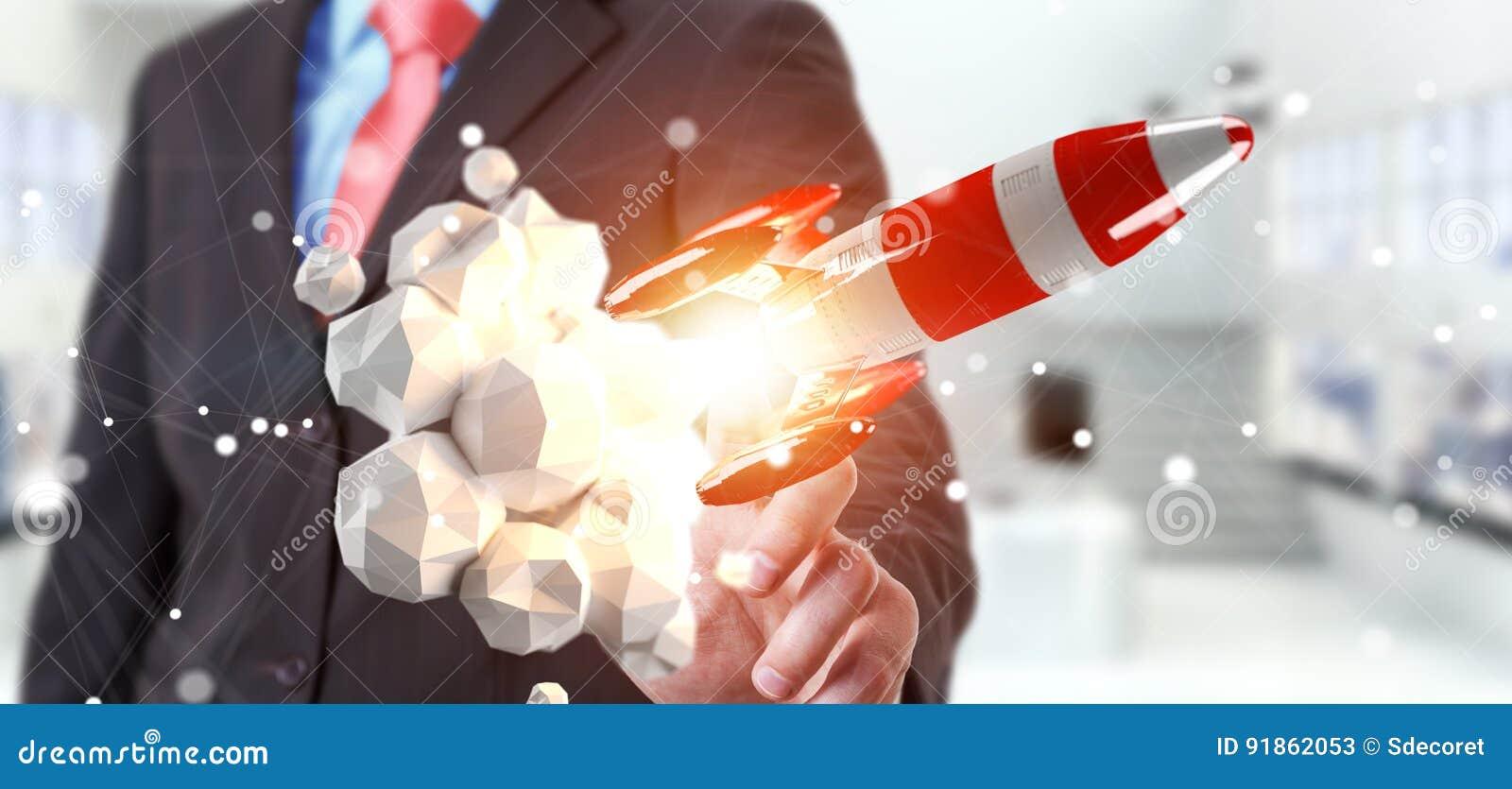 Hombre de negocios que sostiene el cohete rojo en su representación de la mano 3D