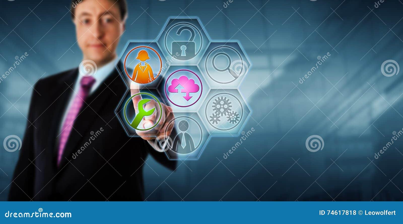 Hombre de negocios que toca iconos manejados del servicio