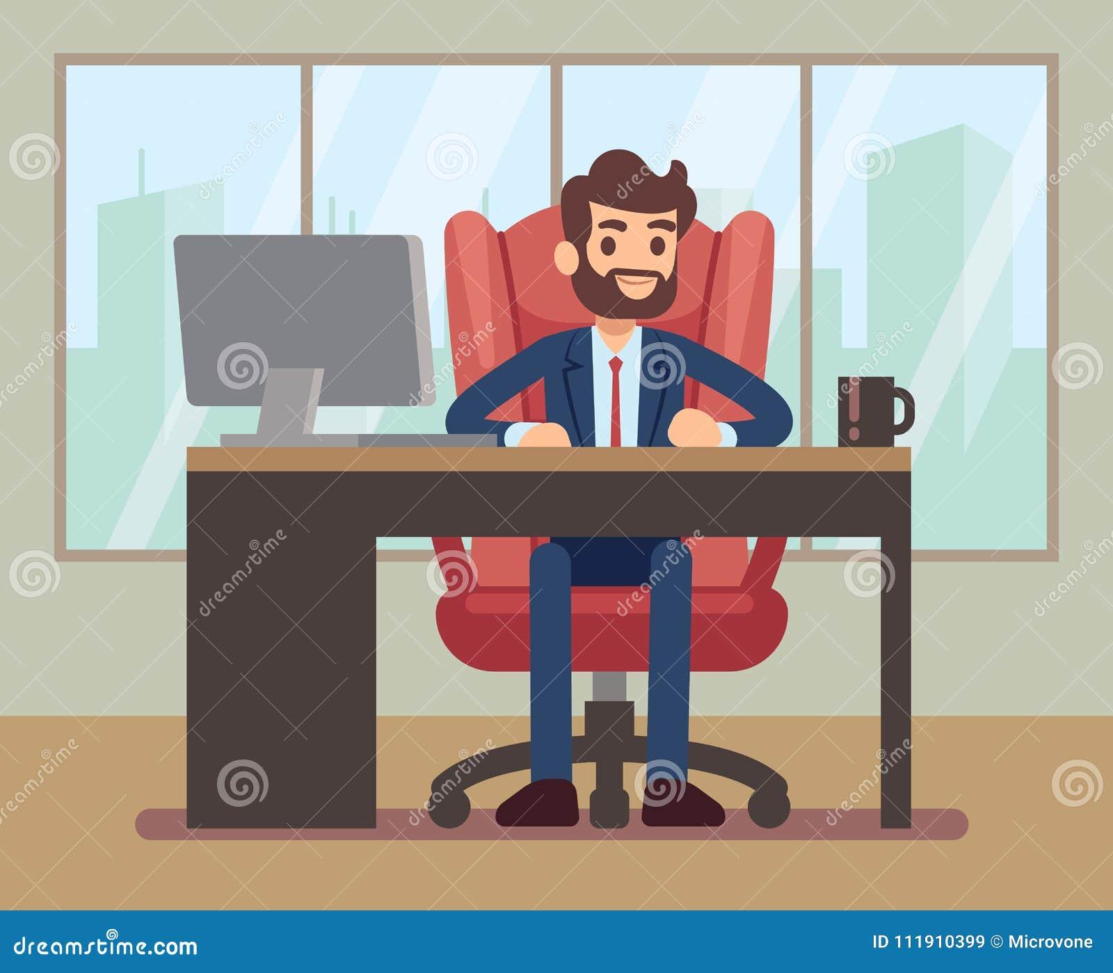 Hombre de negocios que trabaja en el escritorio con el ordenador portátil en lugar de trabajo de la oficina corporativa