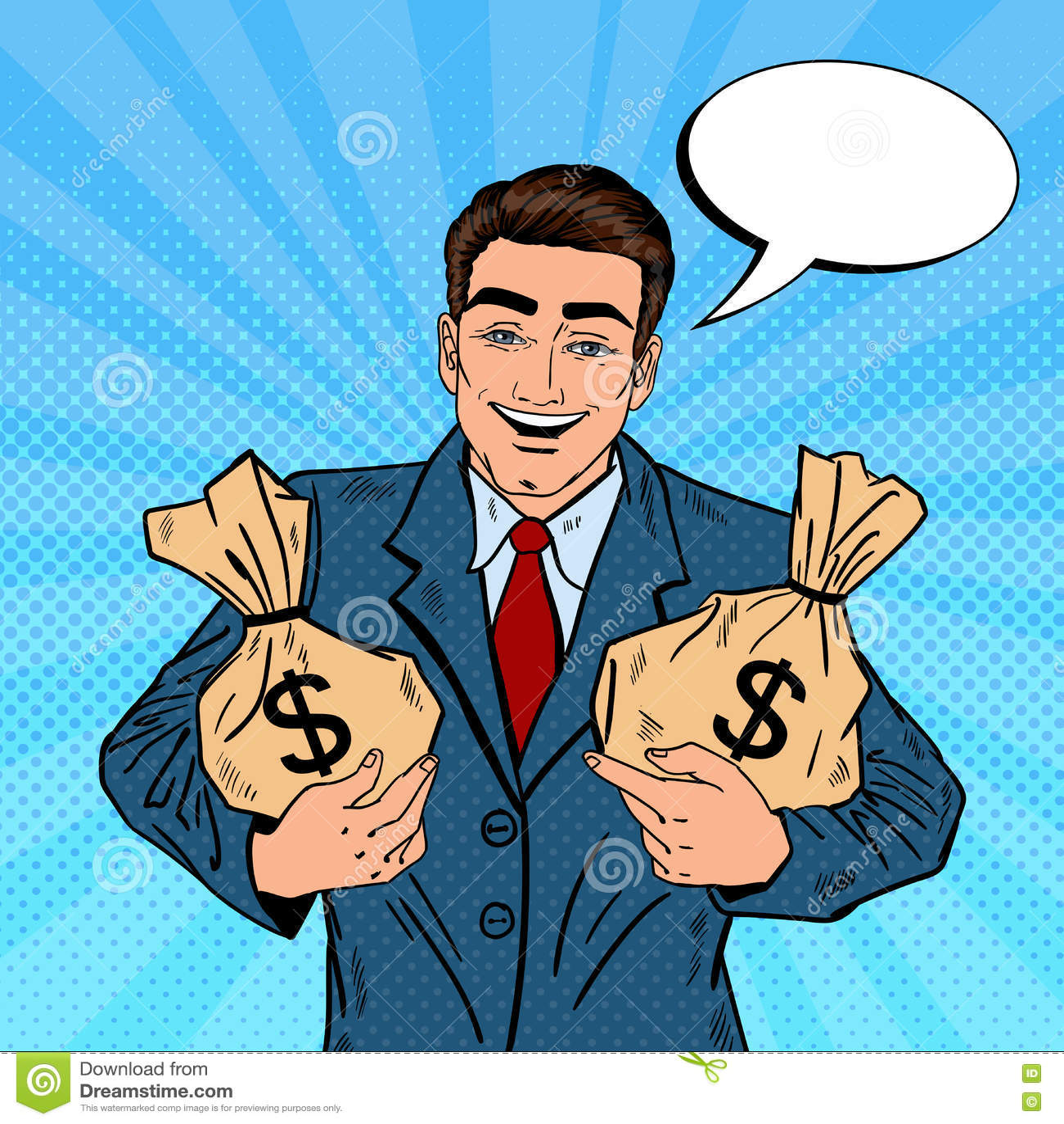 Hombre de negocios sonriente Holding Money Bags Arte pop