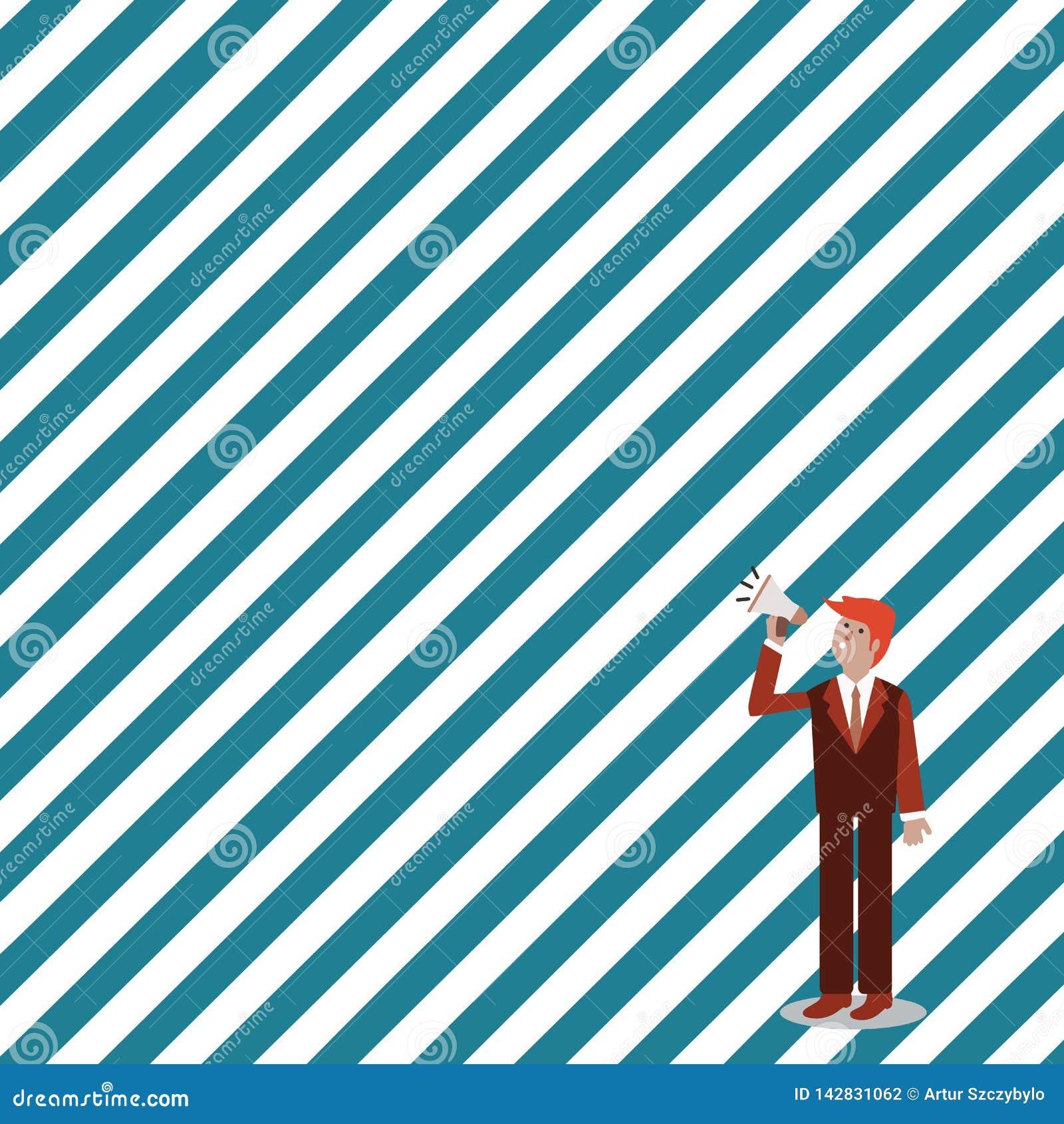 Hombre de negocios Standing, sosteniéndose y hablando en el megáfono con el icono de los sonidos Hombre en el traje que mira para