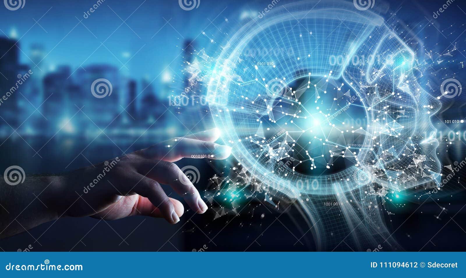 Hombre de negocios usando el interfaz digital 3D r de la inteligencia artificial