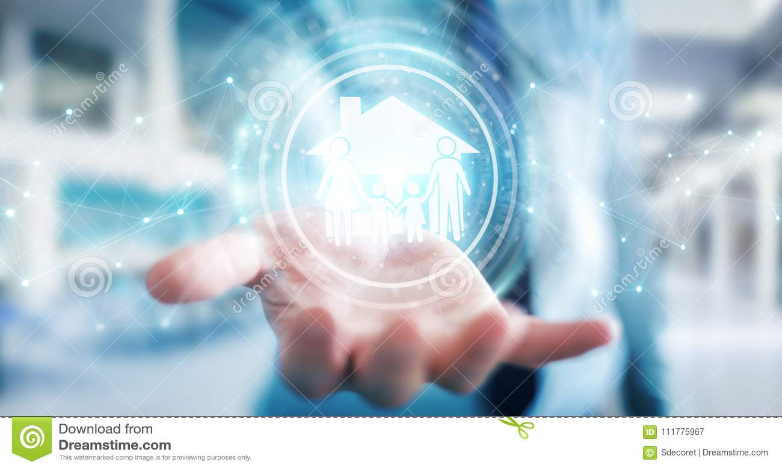 Hombre de negocios usando la representación del uso 3D del seguro del cuidado de la familia