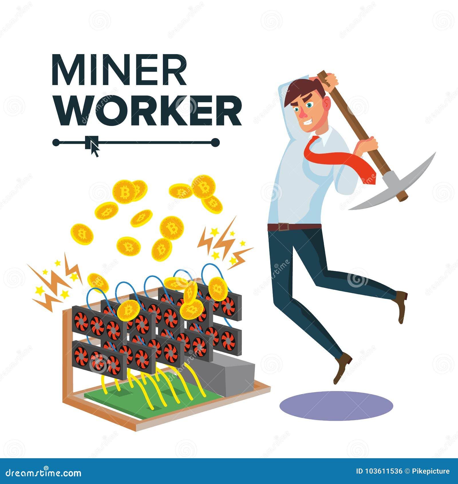 Hombre de negocios Vector del minero Cryptocurrency y dinero electrónico Excavación para conseguir monedas virtuales Ejemplo plan