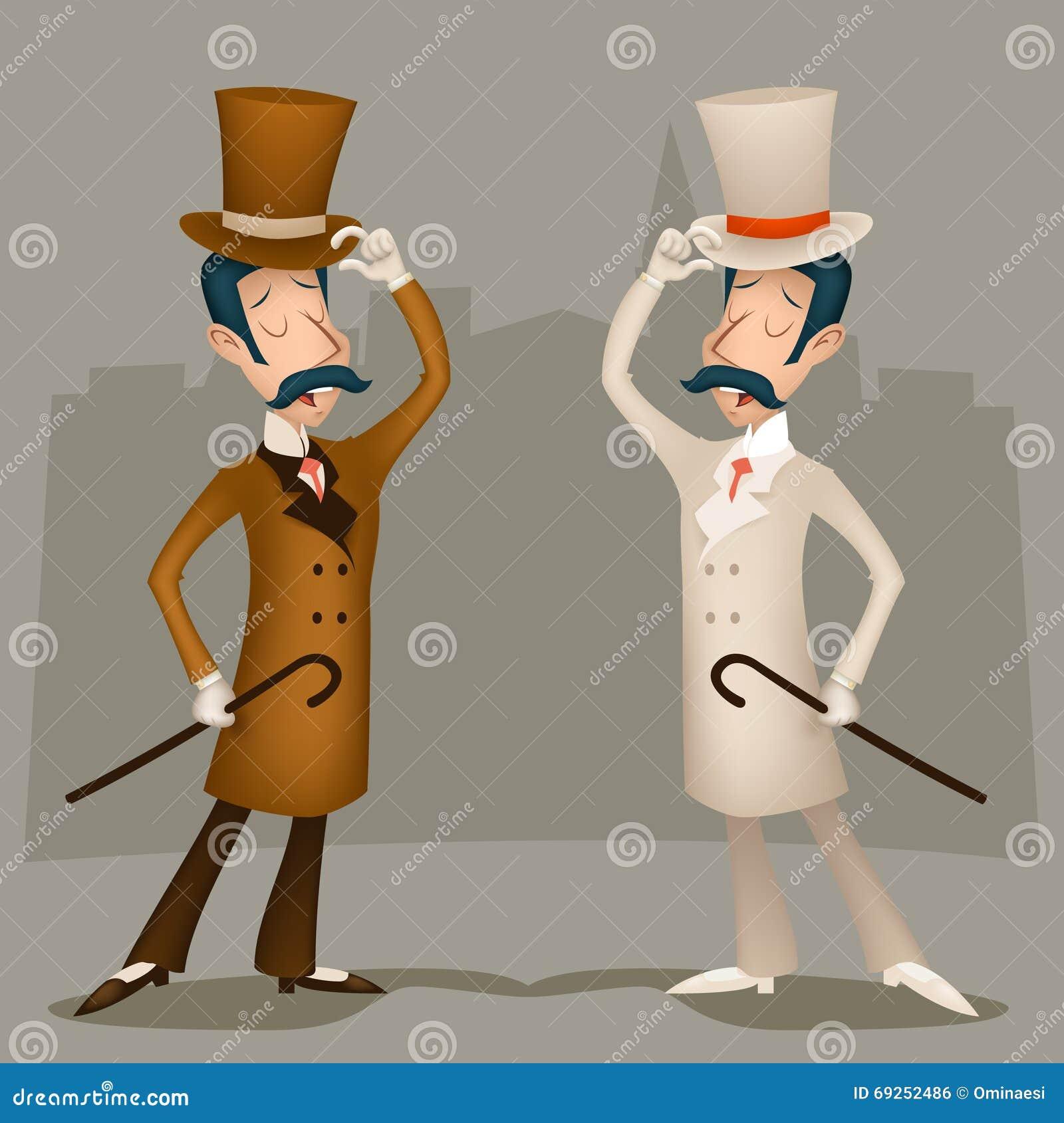 Hombre de negocios victoriano Cartoon Character de Gran Bretaña del vintage del caballero