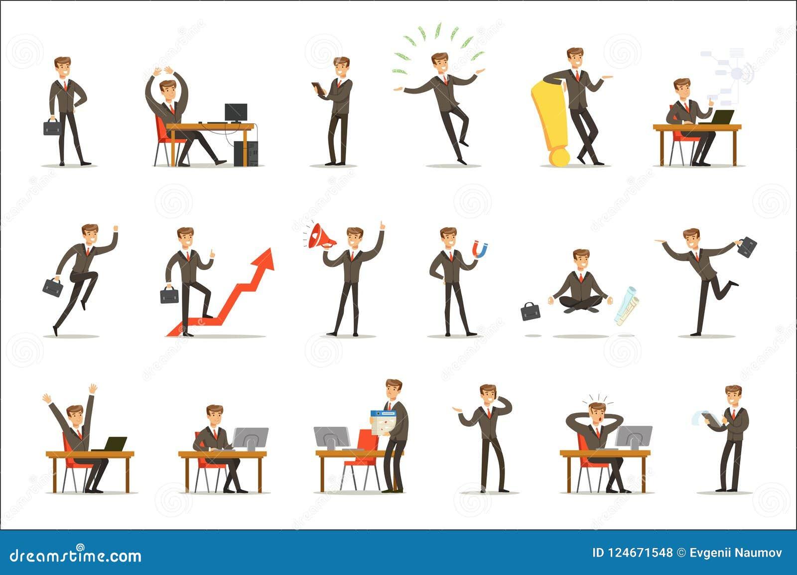 Hombre de negocios Work Process Set de escenas relacionadas con el mercado con el empresario joven Cartoon Character
