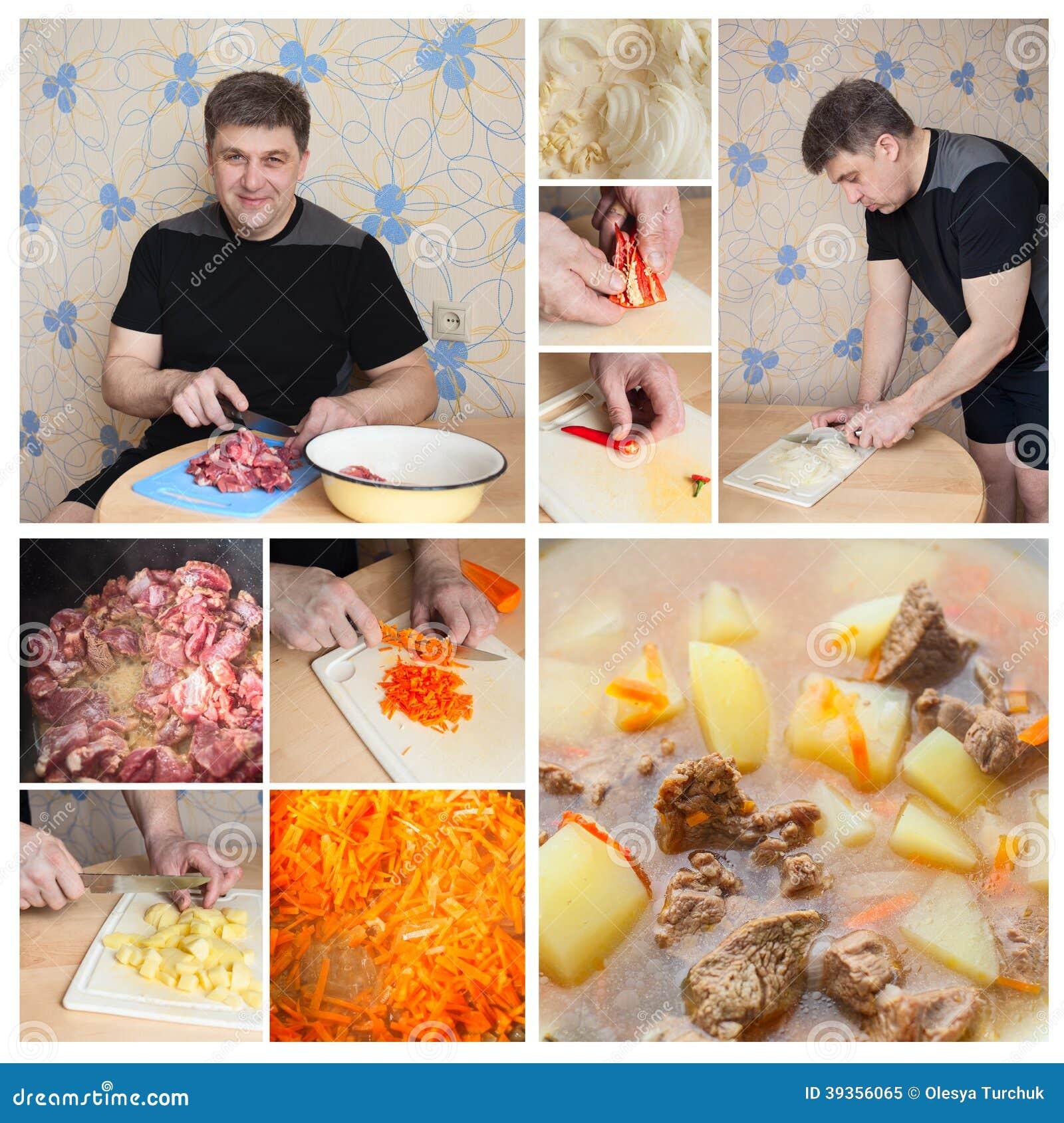 Hombre del collage que cocina en cocina