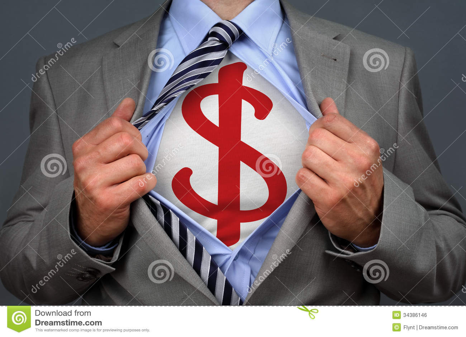 Hombre del dólar del super héroe