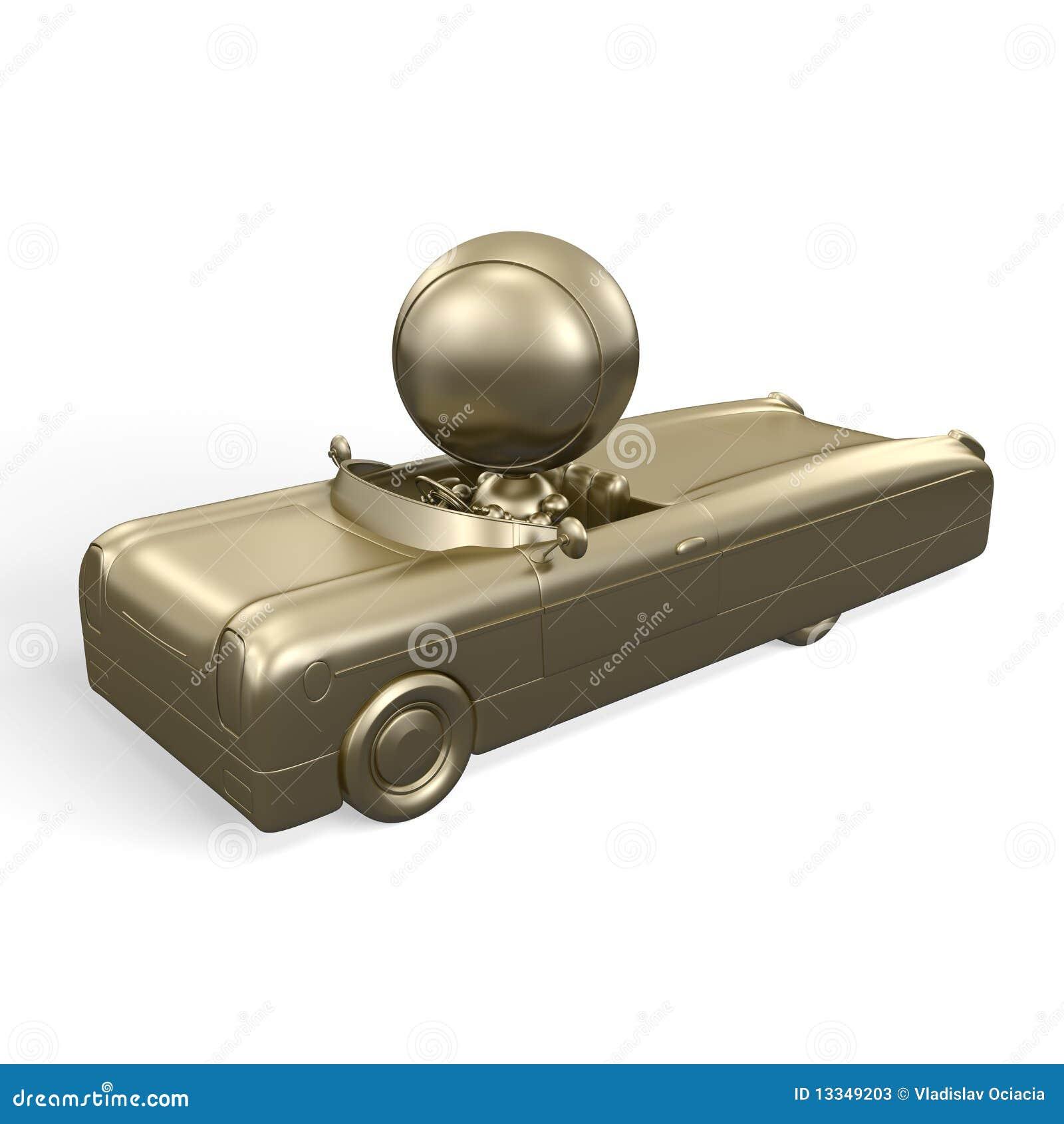 Hombre del oro en coche de oro