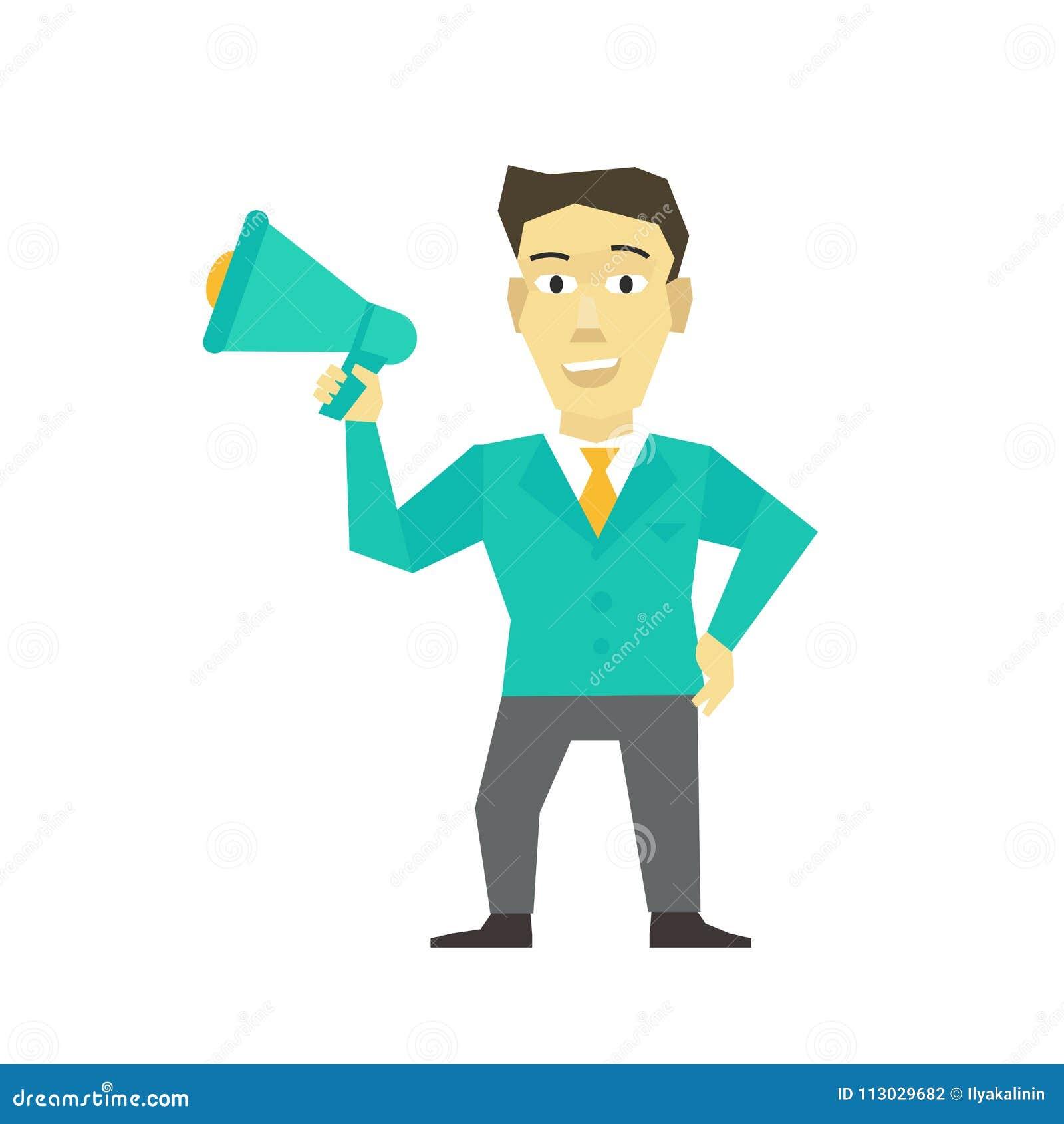 Hombre del Presidente con el cuerno, megáfono mensaje del líder del encargado de las manos libres de la persona del altavoz Polít