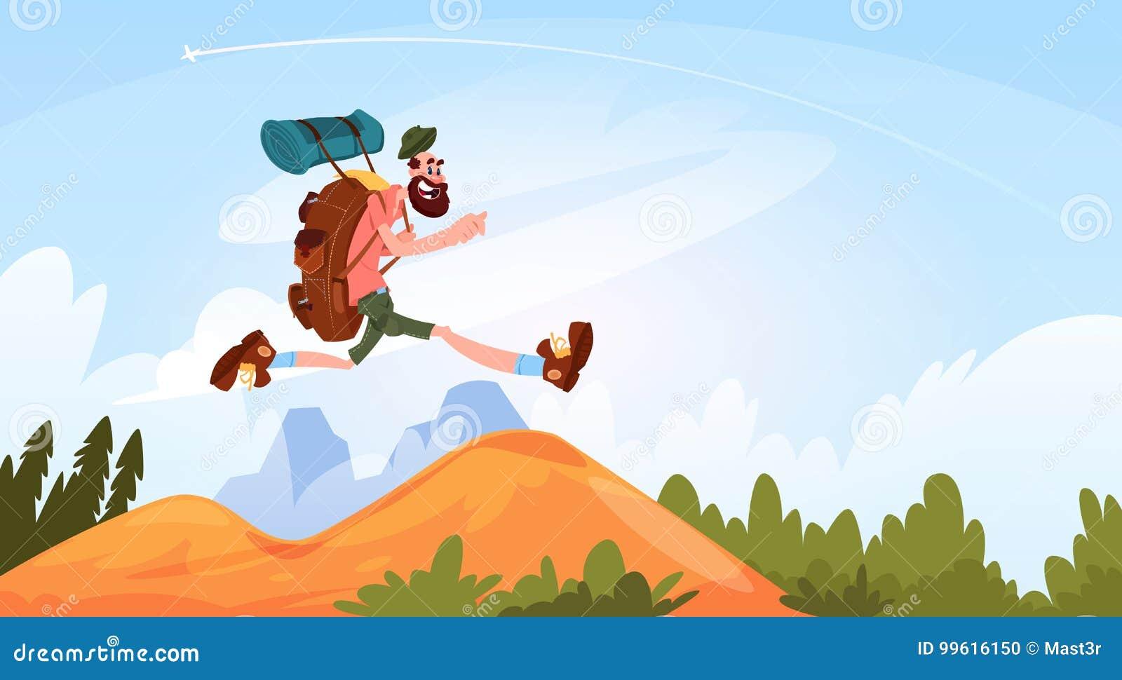 Hombre del viajero que camina en la sonrisa feliz de las montañas con la mochila grande