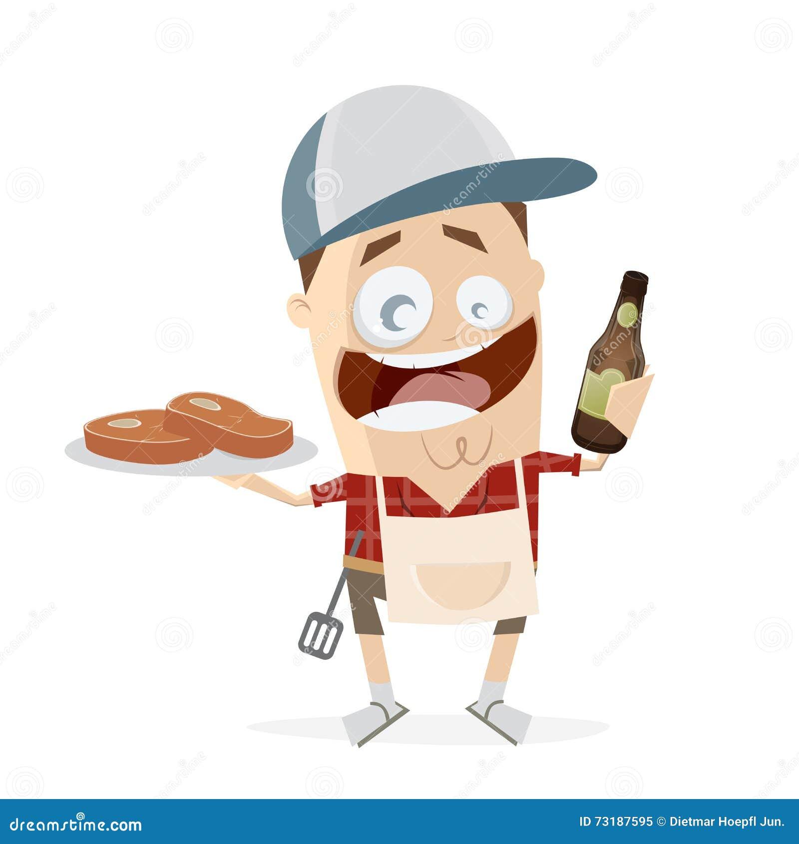 Hombre divertido de la historieta con los filetes y la cerveza