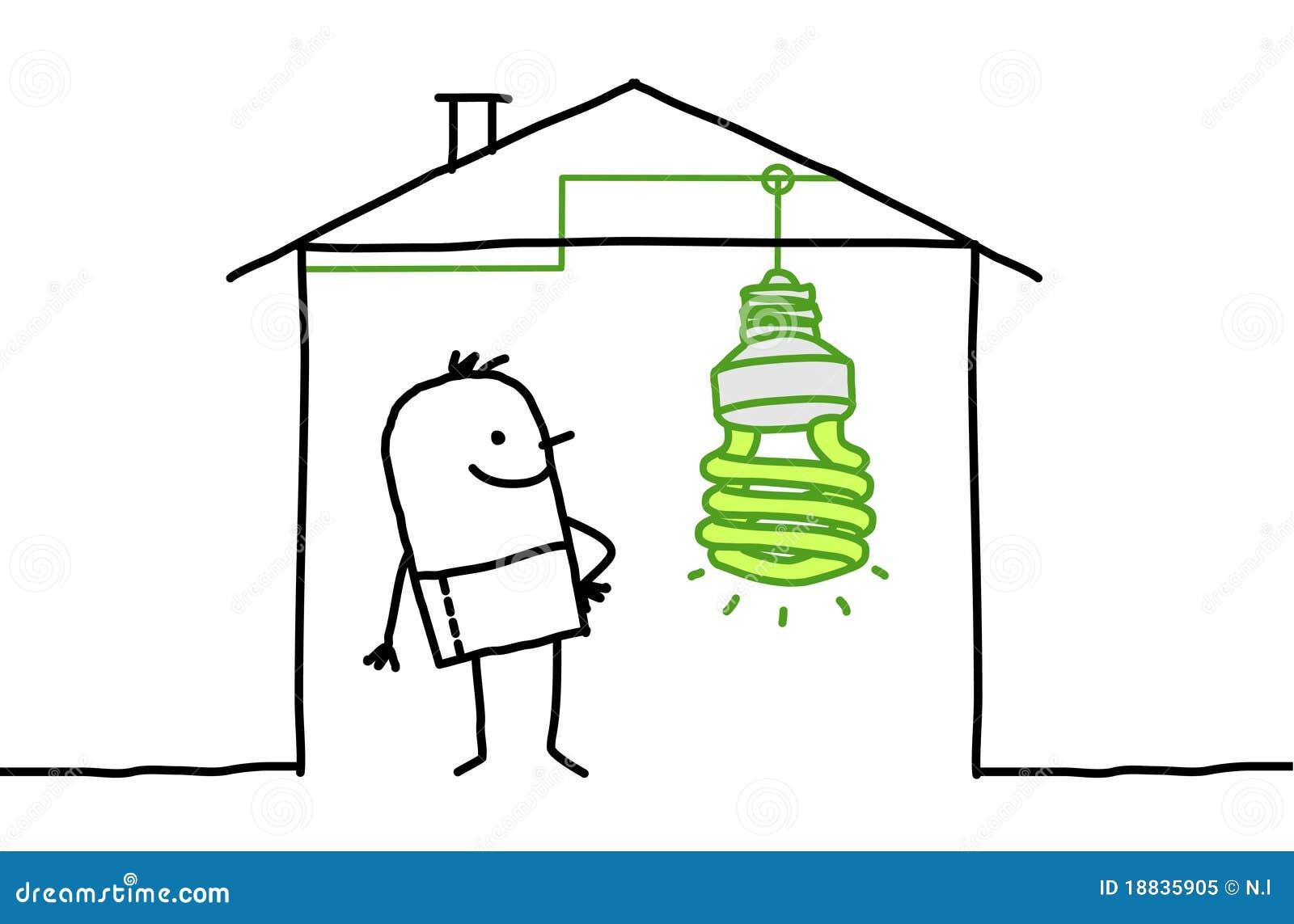 Hombre en casa y luz verde ilustraci n del vector imagen - Luz pulsada en casa ...