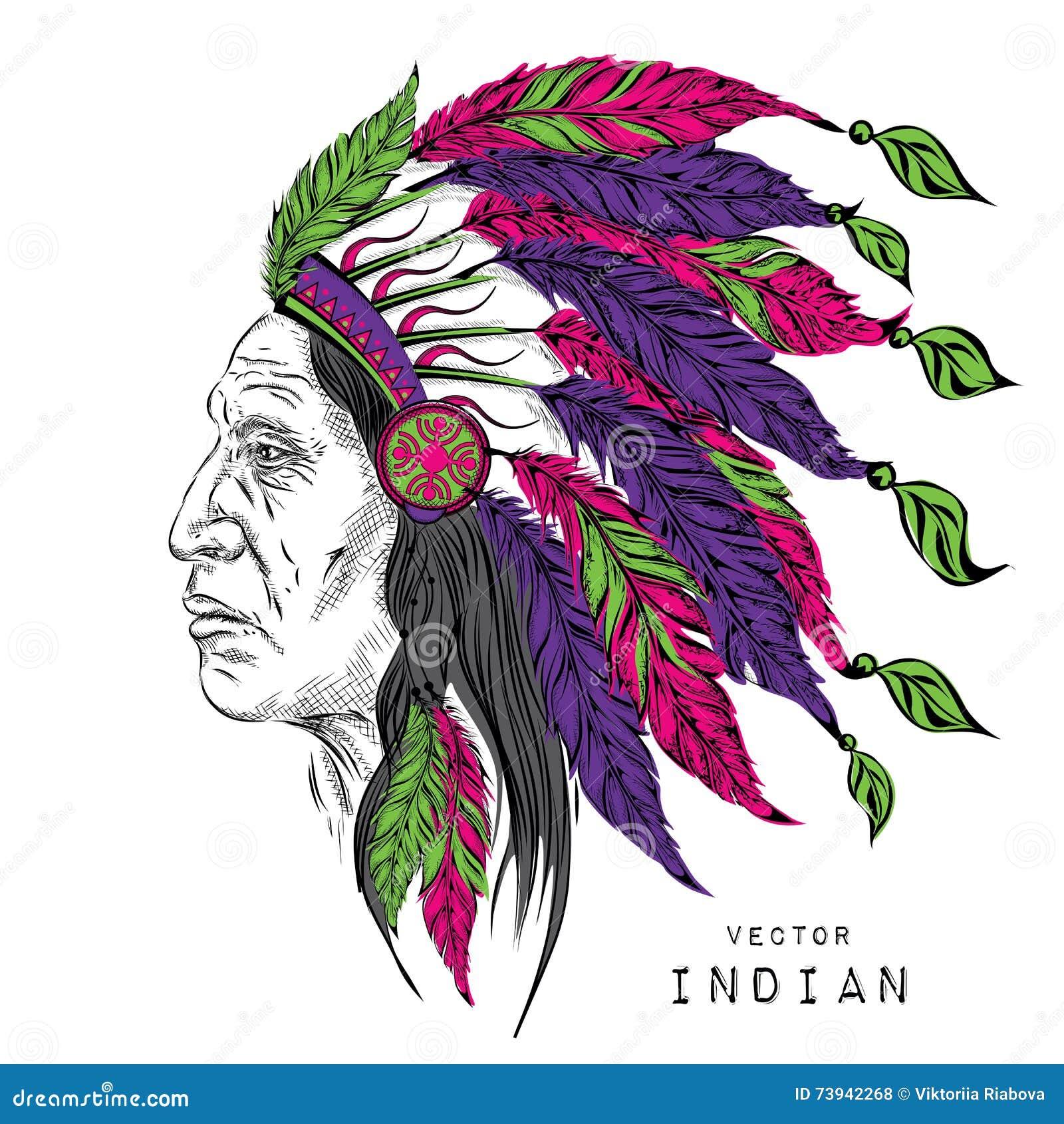 Hombre En El Jefe Indio Del Nativo Americano Escarcho Negro Tocado ...
