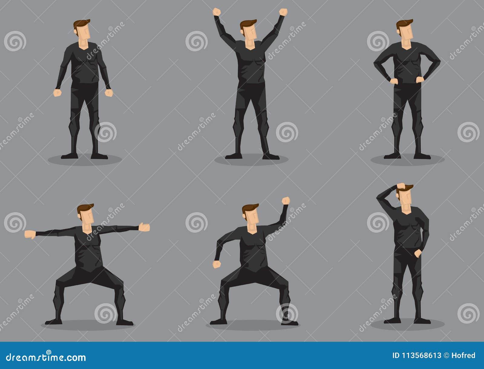 Hombre en juego de caracteres ceñido negro del vector de la ropa