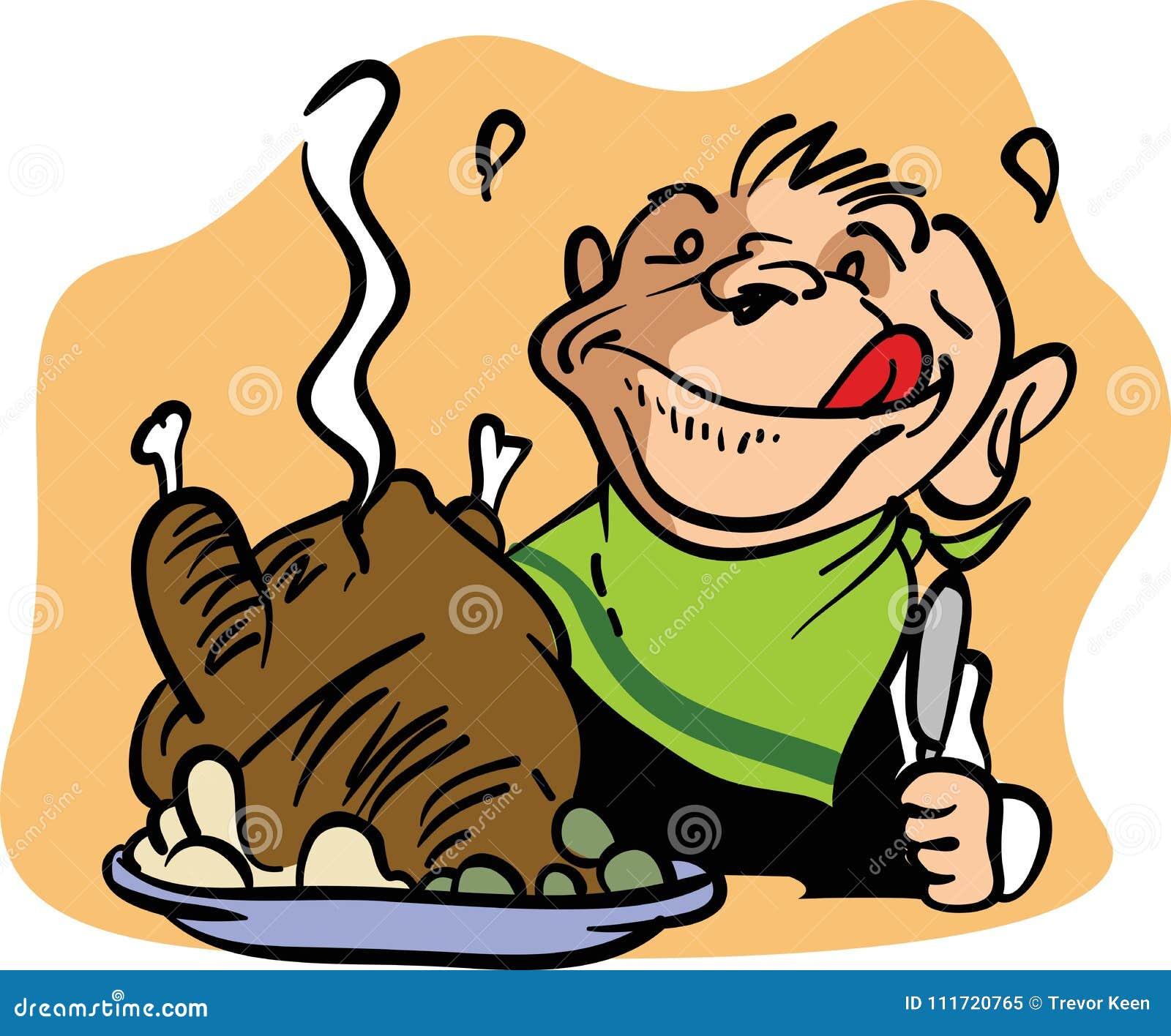 Hombre en la cena del pavo para la acción de gracias