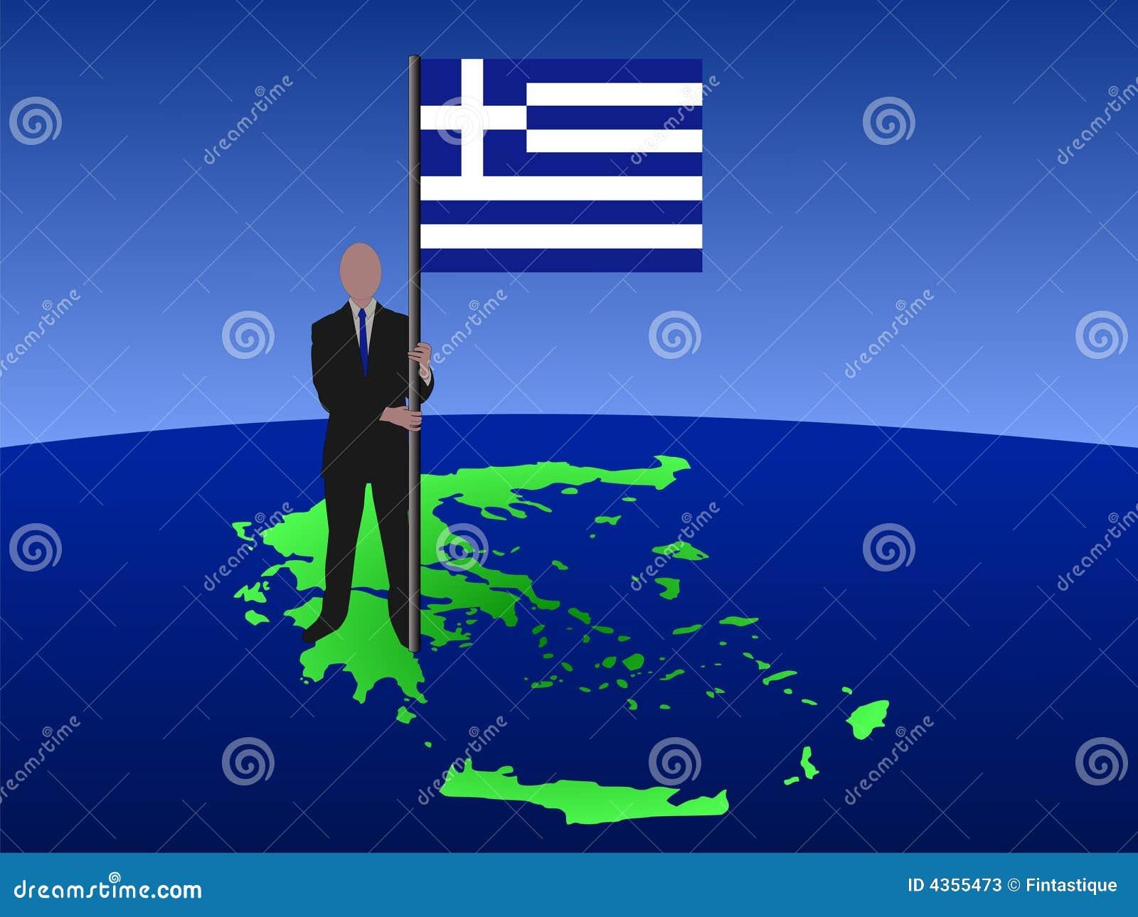 Hombre en la correspondencia de Grecia con el indicador