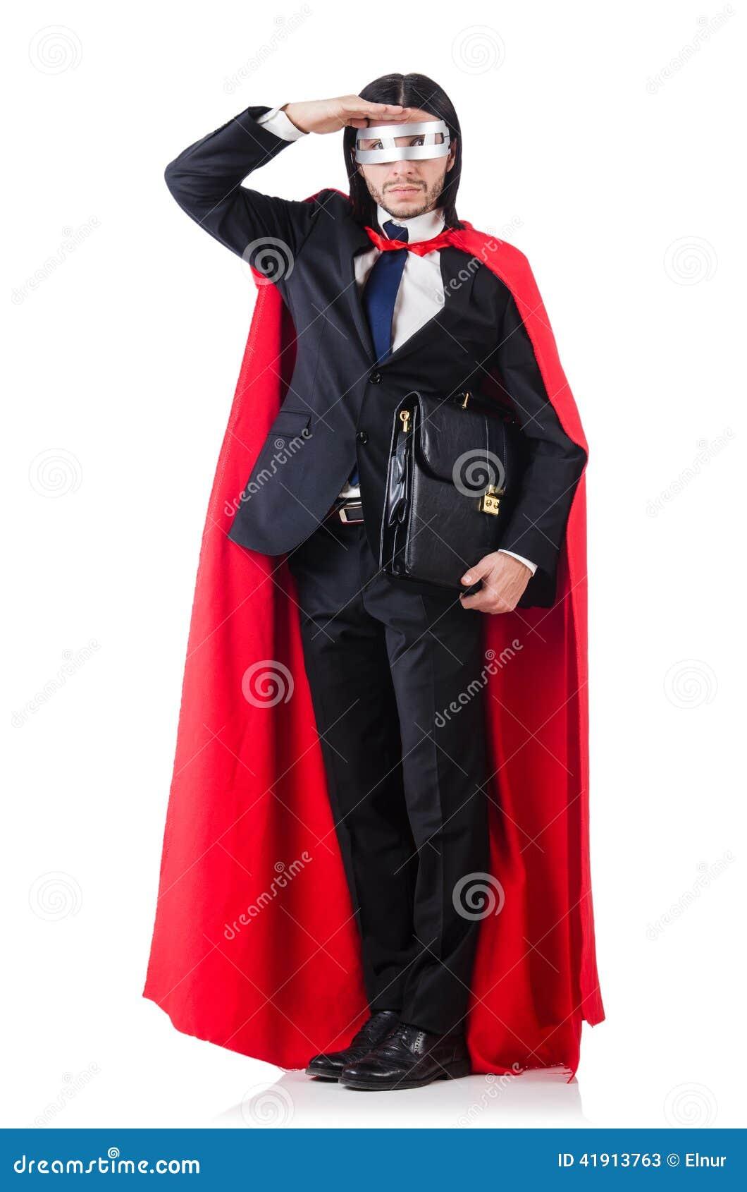 Hombre en la cubierta roja aislada
