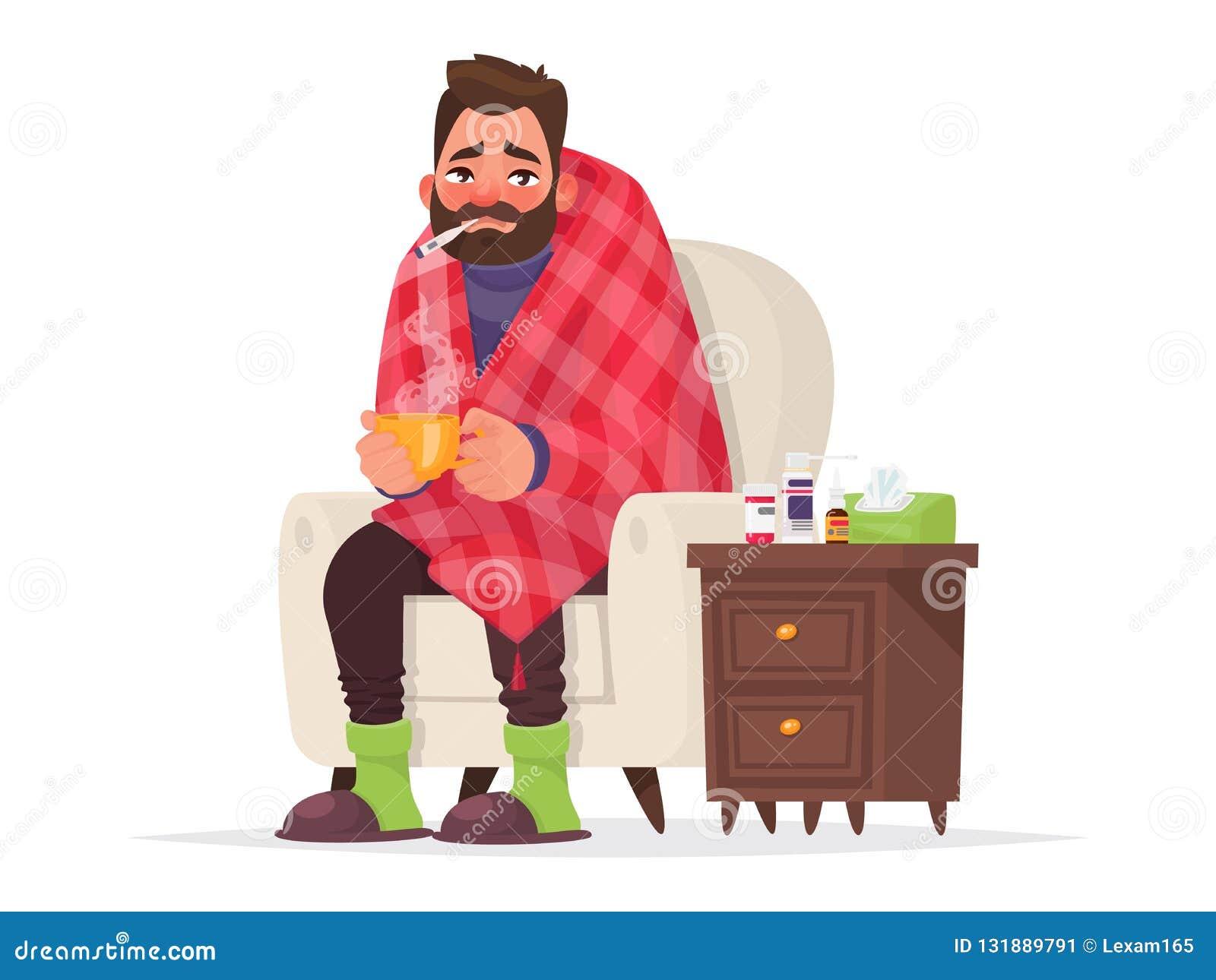 Hombre enfermo Gripe, enfermedad viral Ilustración del vector
