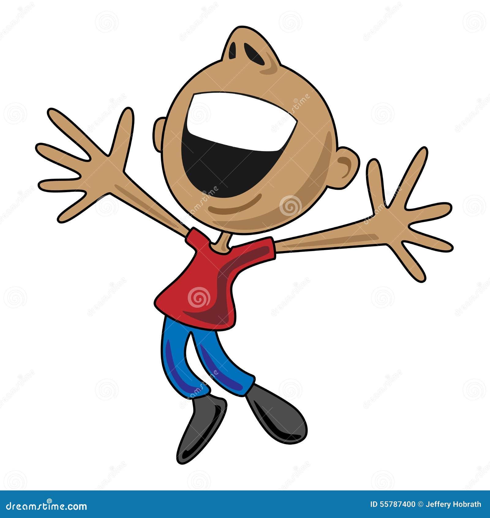 Hombre feliz de la historieta que salta para la alegría