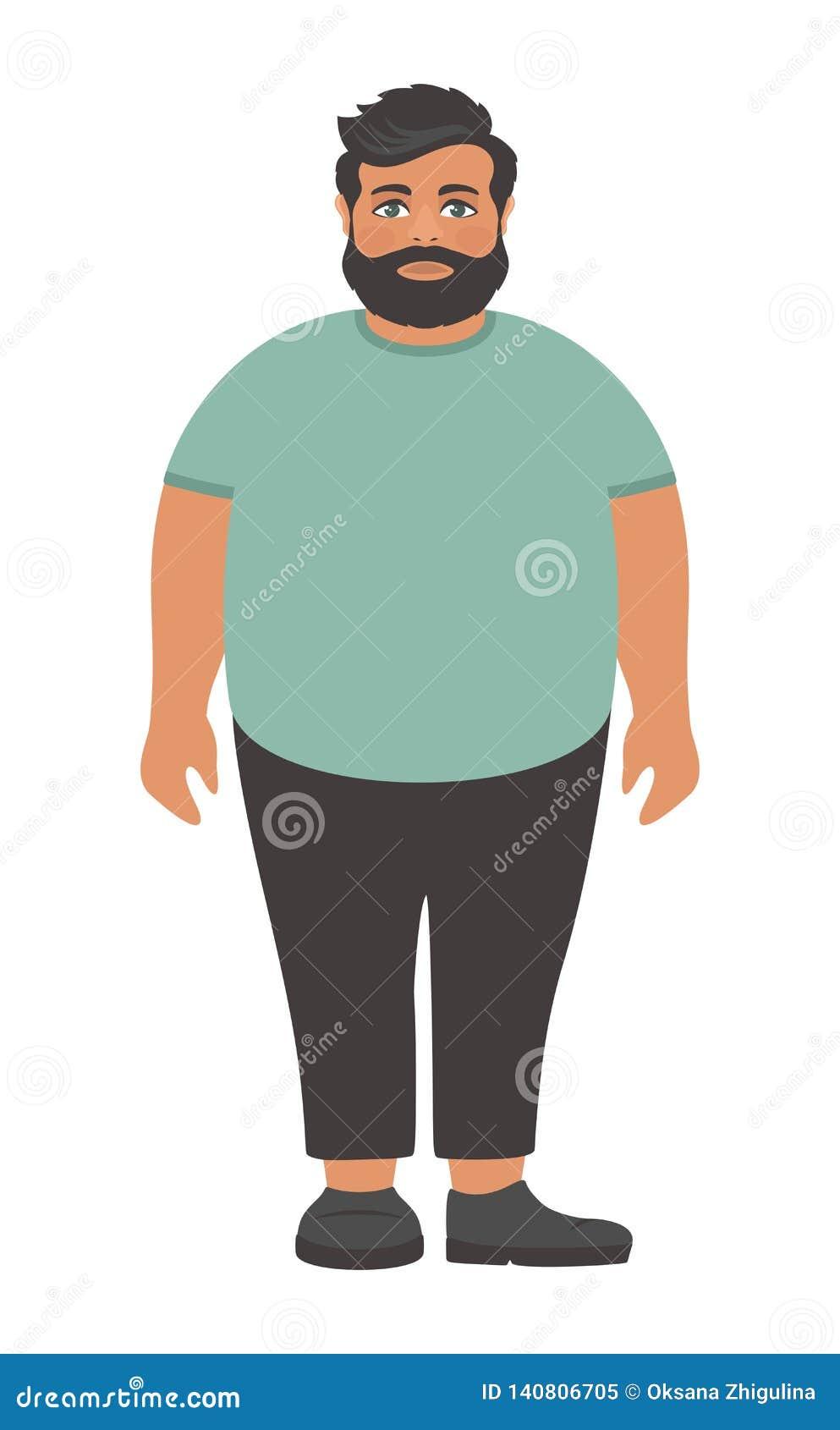 Hombre Gordo Barbudo Triste En Una Camiseta Verde Grande