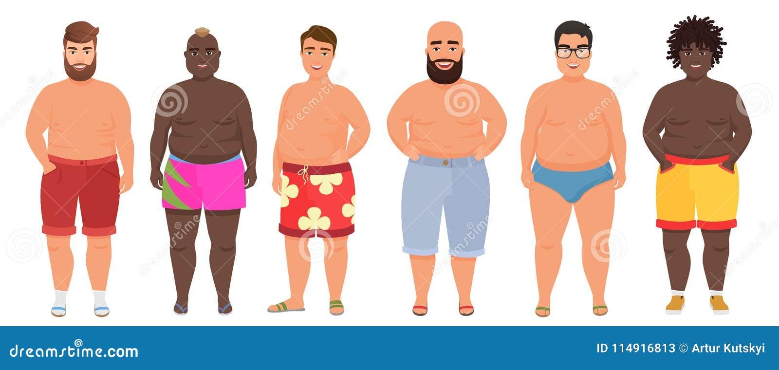 29e2b5a49 Hombre gordo divertido del vector de la historieta en la ropa interior