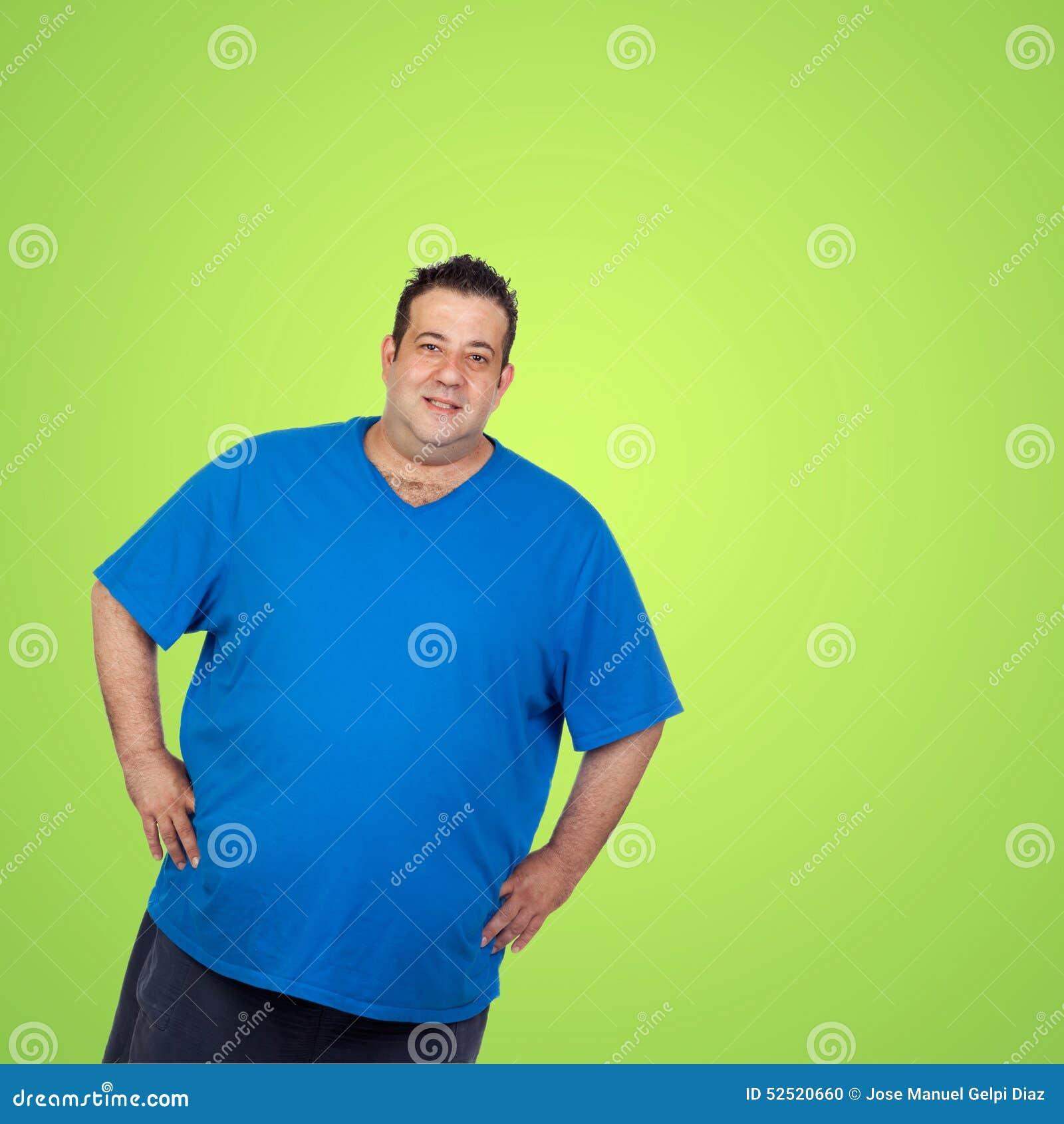 Feliz Camisa La Azul Archivo Gordo Imagen Hombre Con De Foto v7fbY6yg
