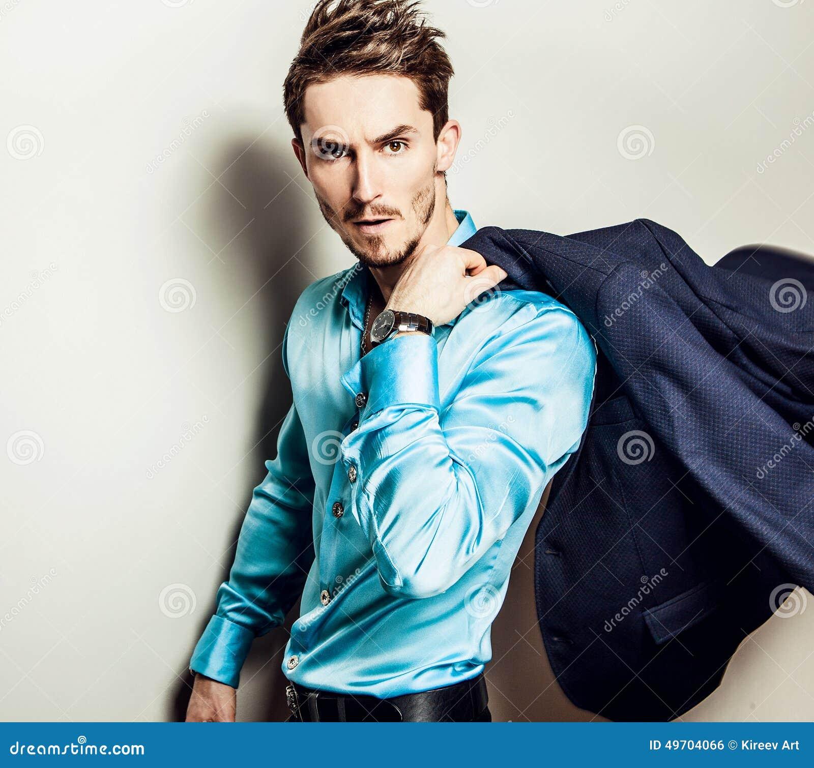 Camisa Retrato La Seda Elegante Hermoso Azul De Joven Hombre En QCEdeoWrxB