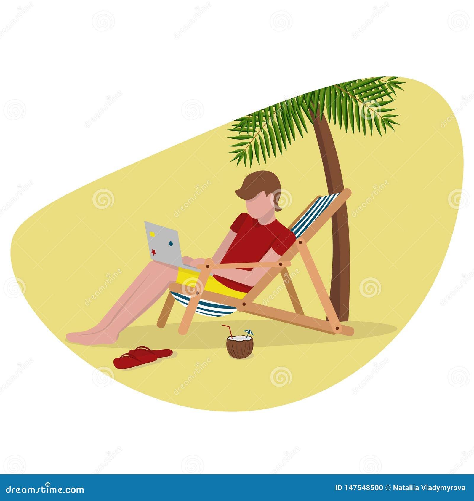 Hombre independiente en la playa amarilla con la palma del ordenador portátil