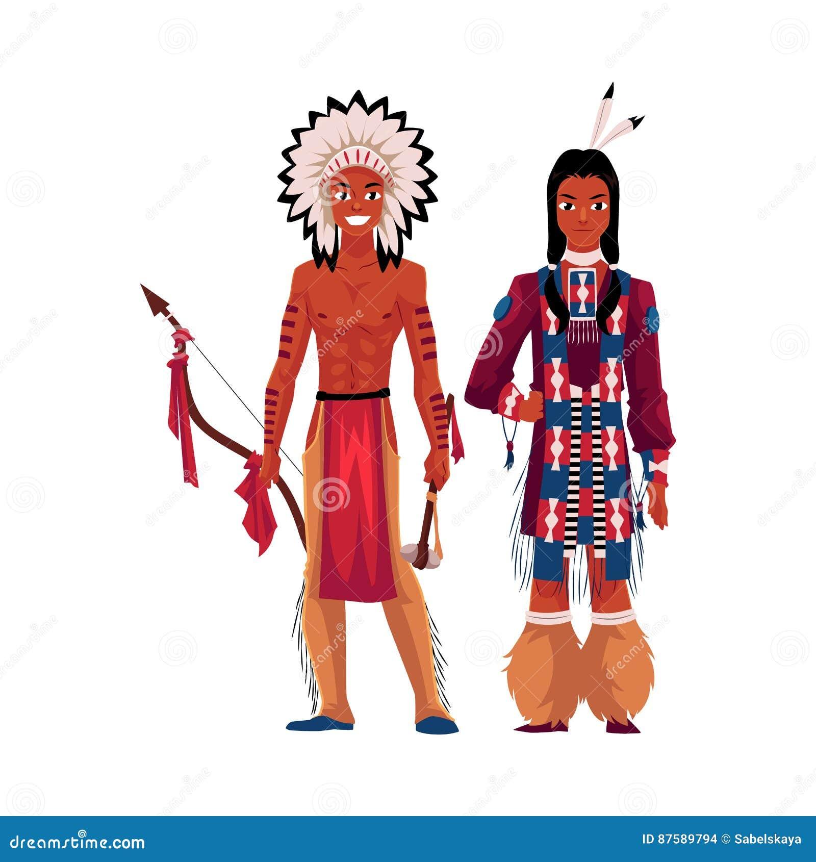 Hombre Indio Del Nativo Americano Descamisado En El Tocado De La ...