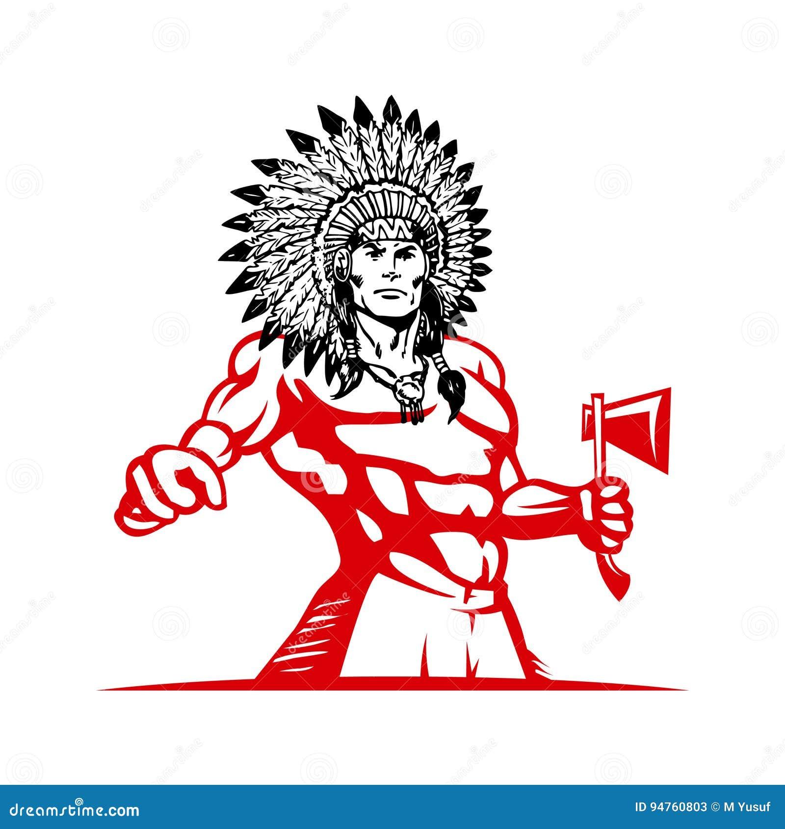 Hombre Indio Del Nativo Americano En Plantilla Del Tocado De La ...