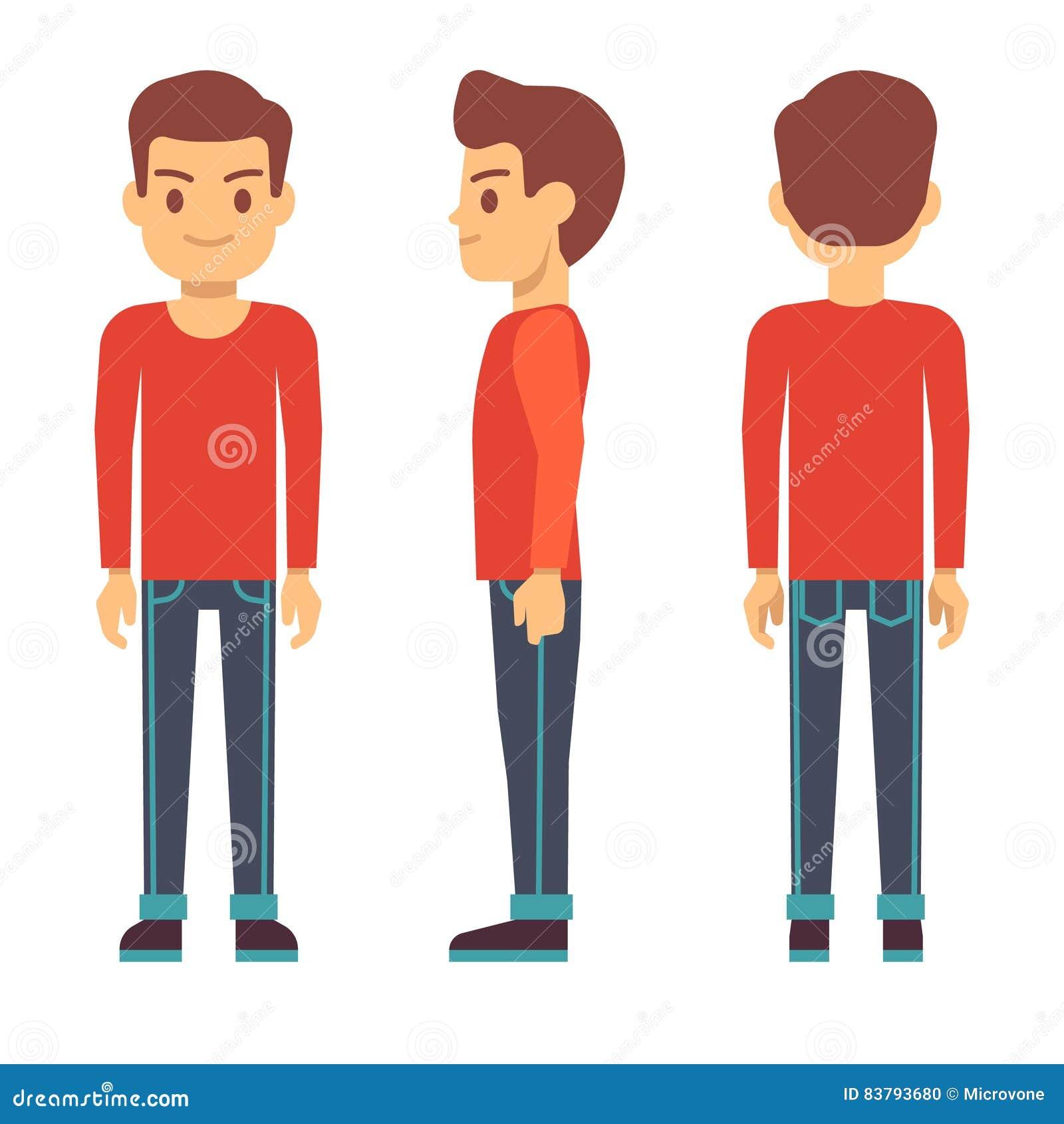 Hombre joven derecho, carácter del muchacho en el frente, parte posterior, vista lateral en sistema del vector de la ropa casual