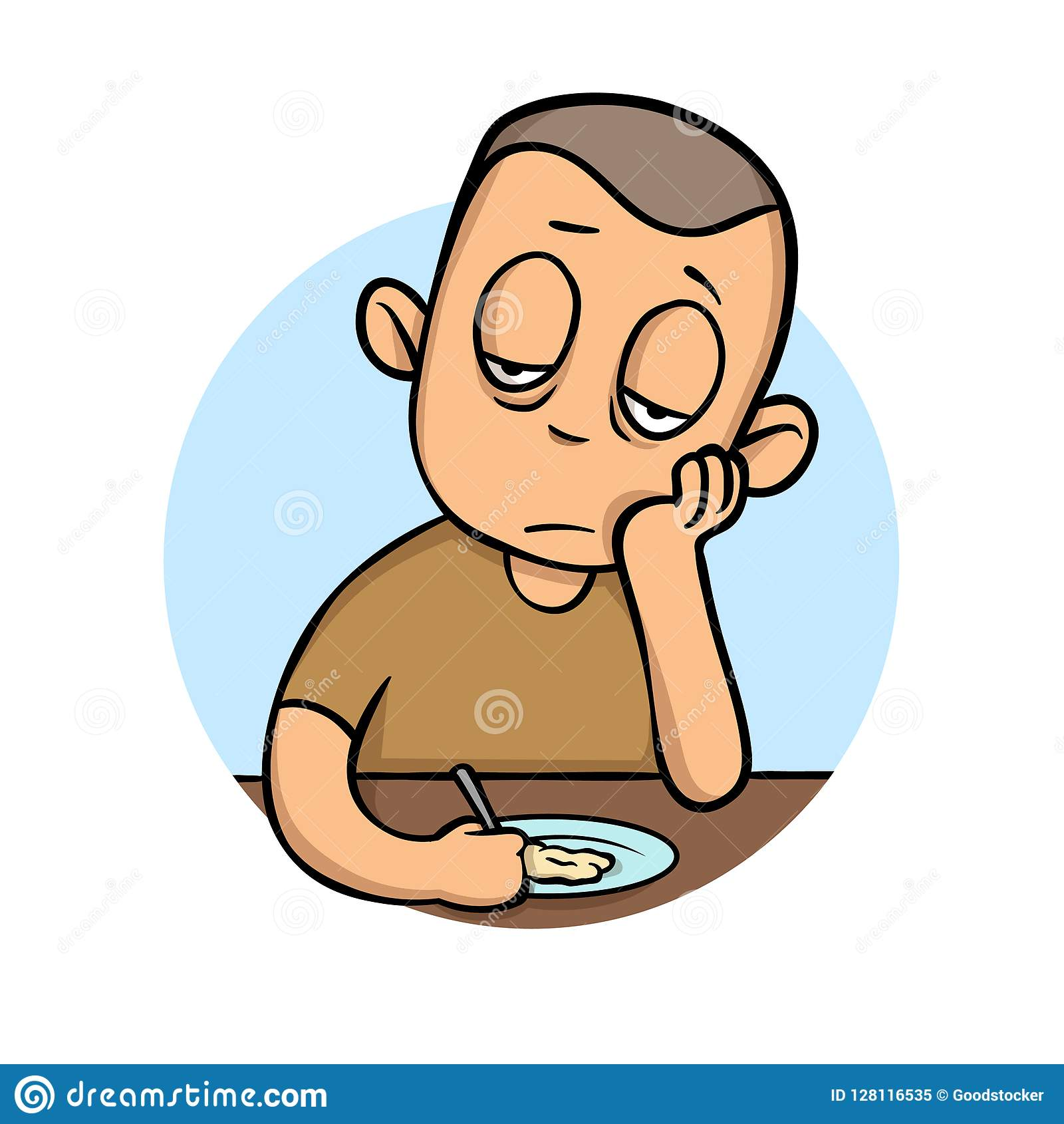 Hombre joven enfermo sin apetito delante de la comida Ejemplo plano del vector Aislado en el fondo blanco