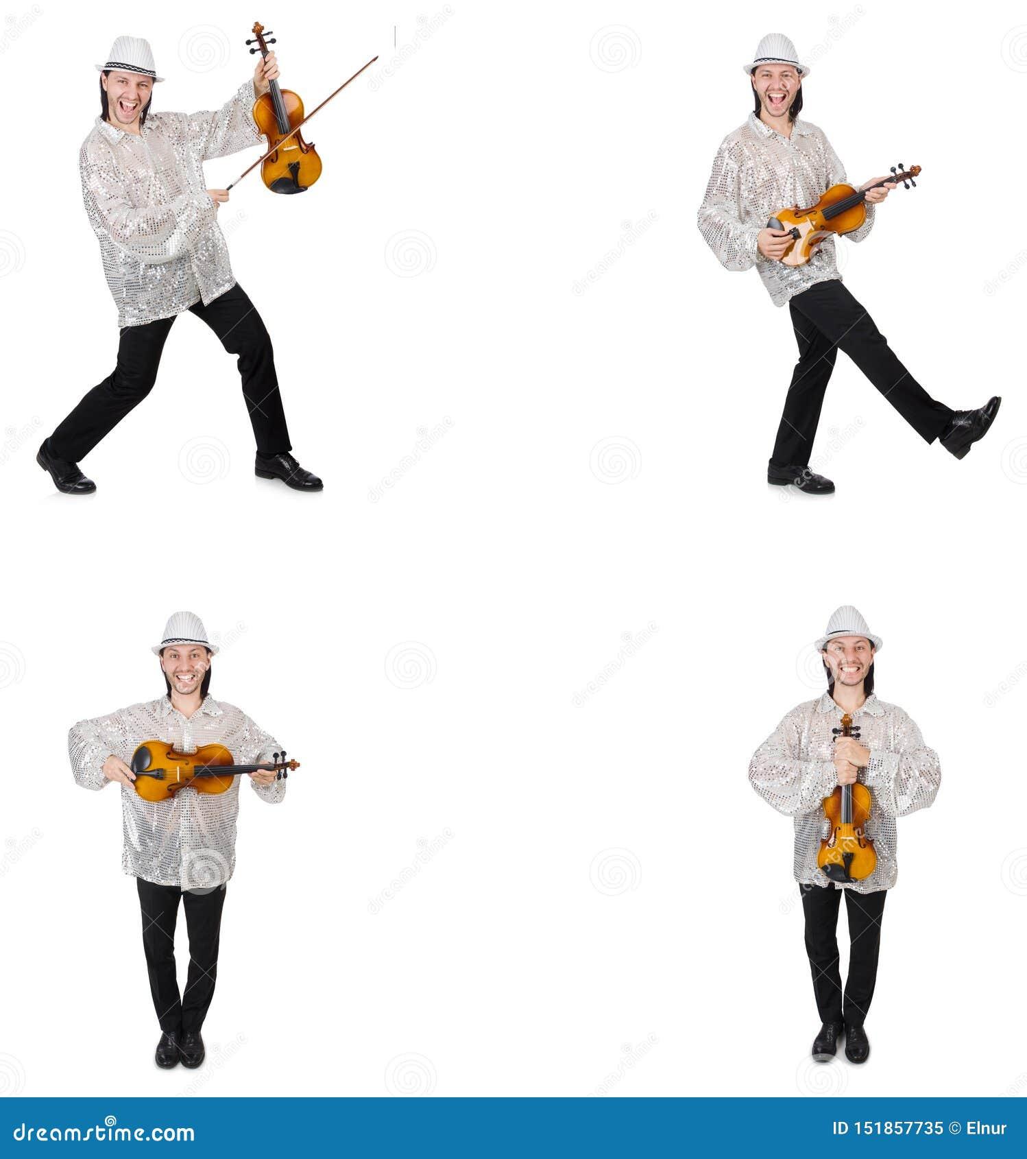 Hombre joven que toca el viol?n aislado en blanco