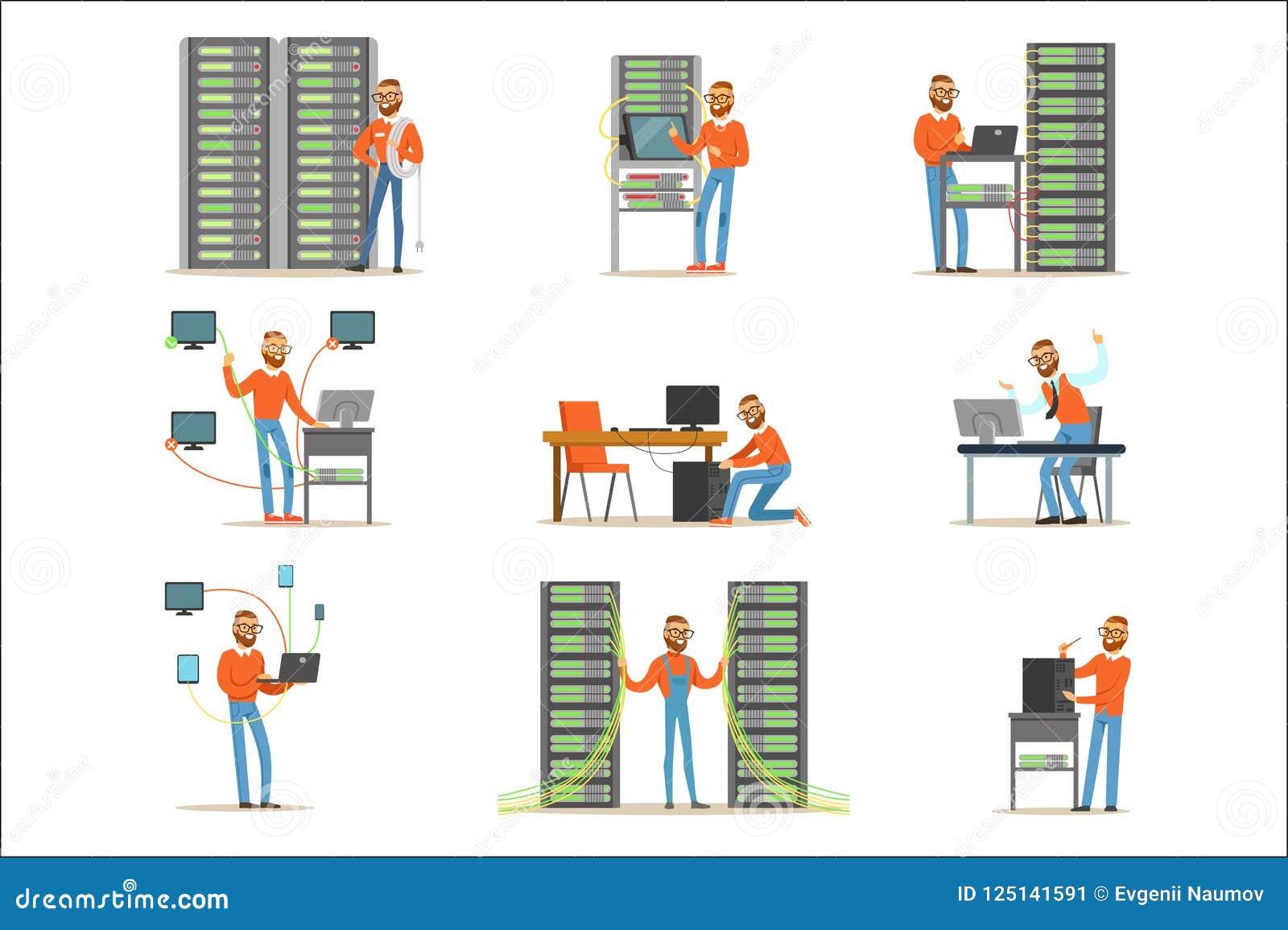 Hombre joven que trabaja en sitio de servidor de red Técnico en el sistema del centro de datos de ejemplos coloridos